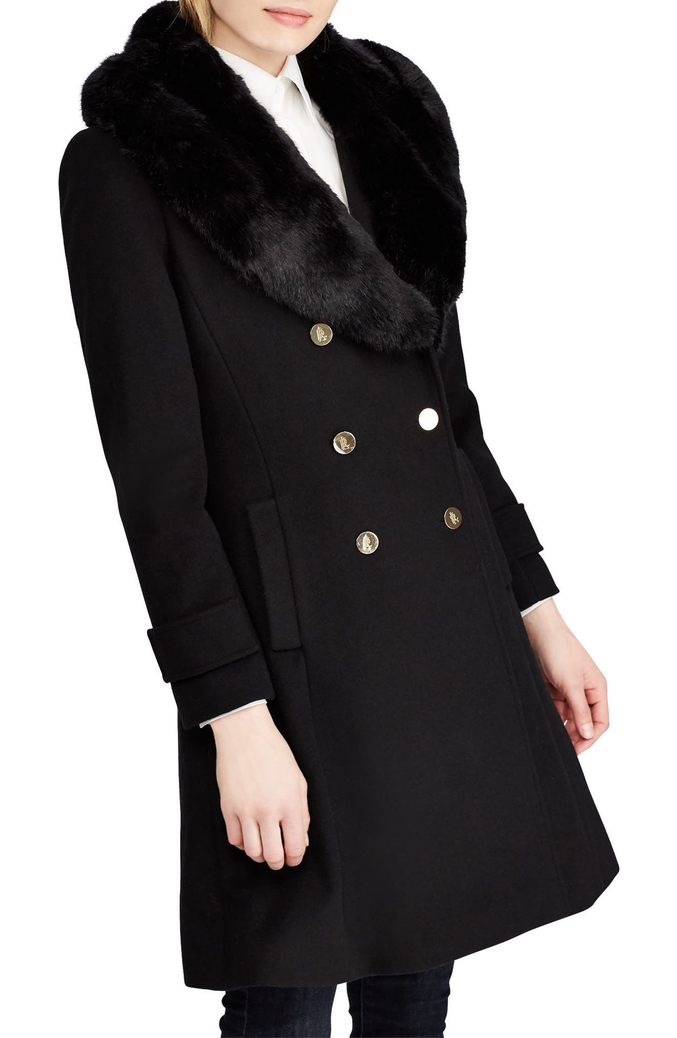 LAUREN RALPH LAUREN, Wool Blend Coat with Faux Fur Trim, Main thumbnail 1, color, BLACK