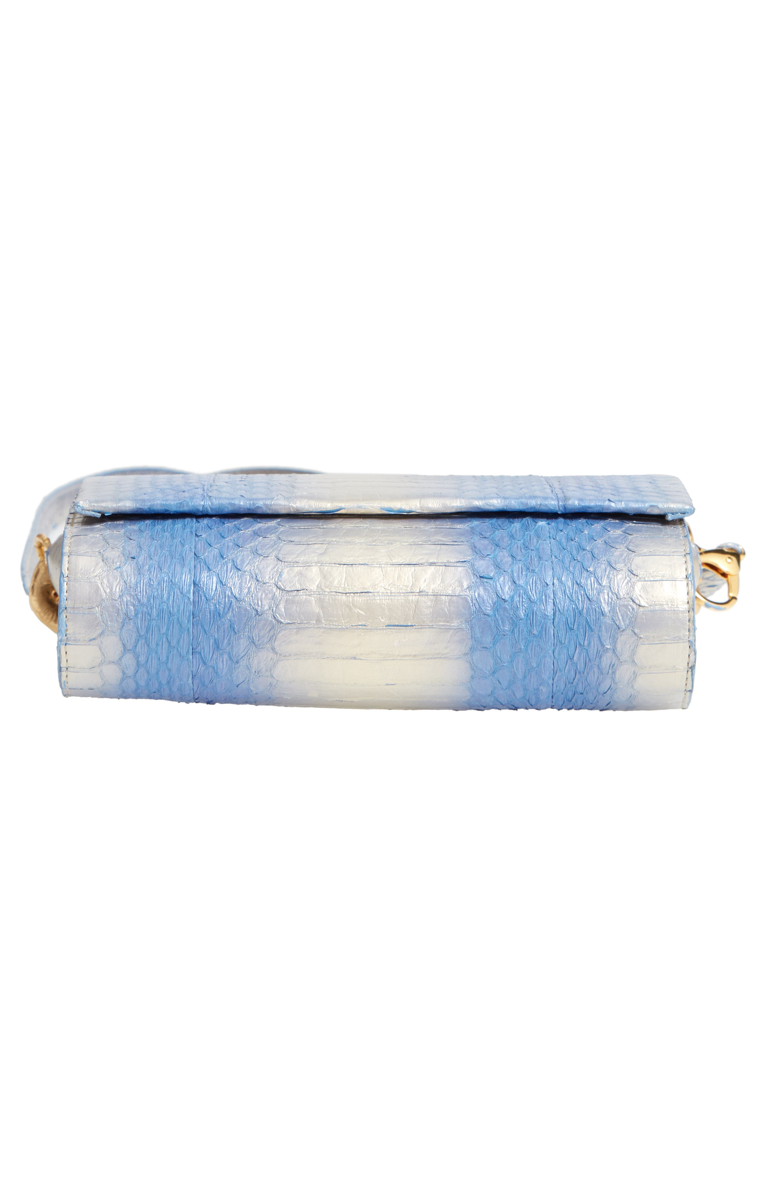 NANCY GONZALEZ, Small Carrie Genuine Crocodile Clutch, Alternate thumbnail 7, color, SILVER/ BLUE DEGRADE/ GOLD