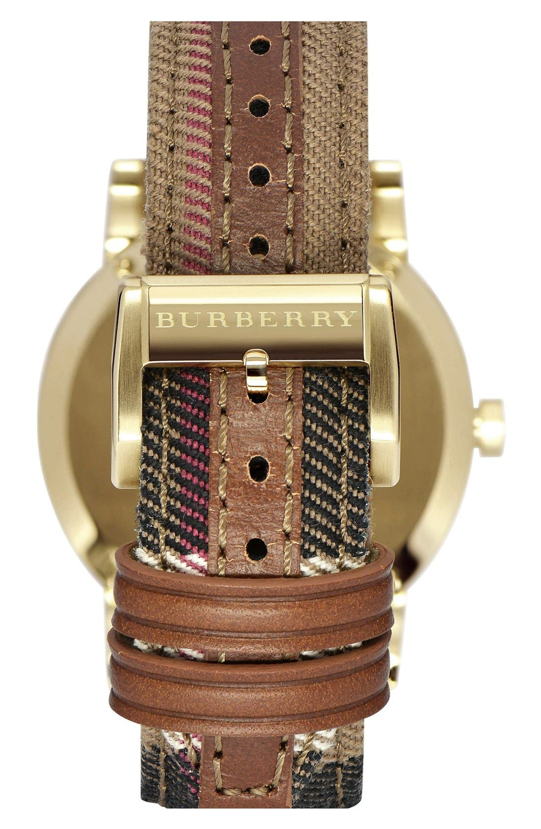 BURBERRY, 'The City' Woven Strap Watch, 38mm, Alternate thumbnail 2, color, 001