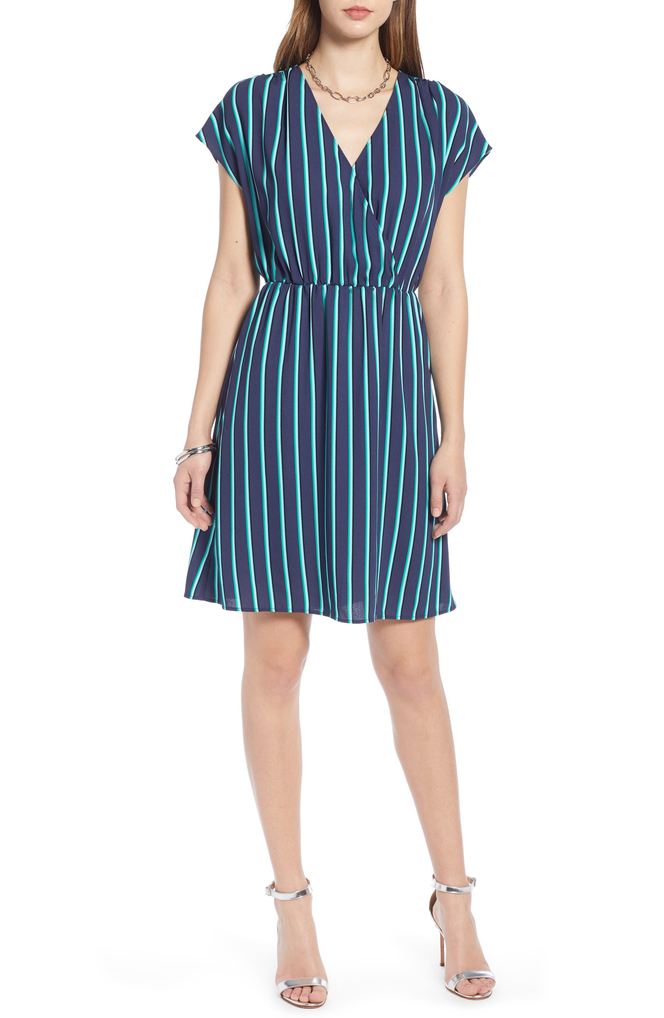 Halogen Faux Wrap Dress, Blue