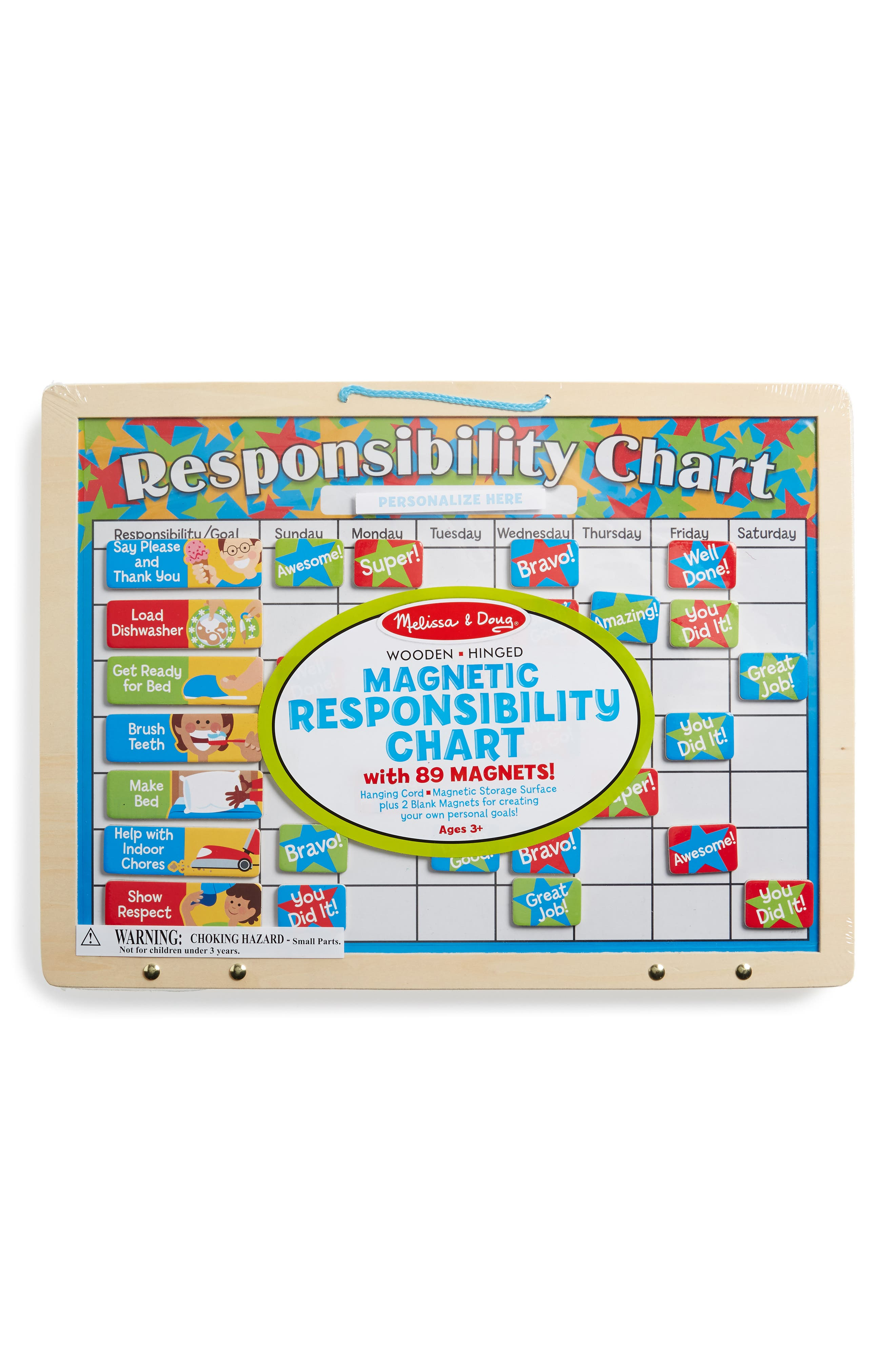 MELISSA & DOUG Magnetic Responsibility Chart, Main, color, WOOD