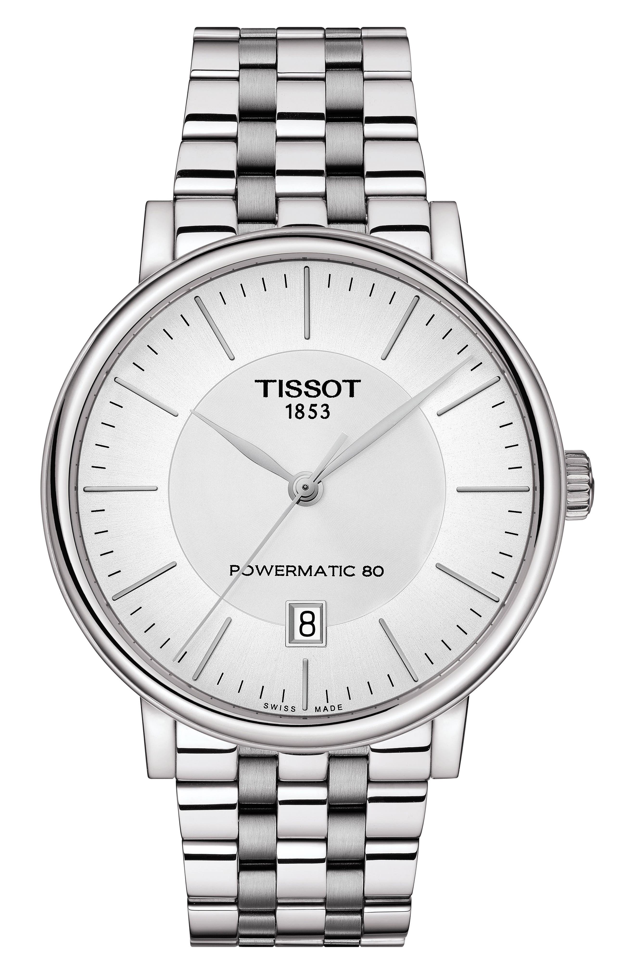 TISSOT, T-Classic Carson Powermatic Bracelet Watch, 40mm, Main thumbnail 1, color, SILVER/ WHITE/ SILVER