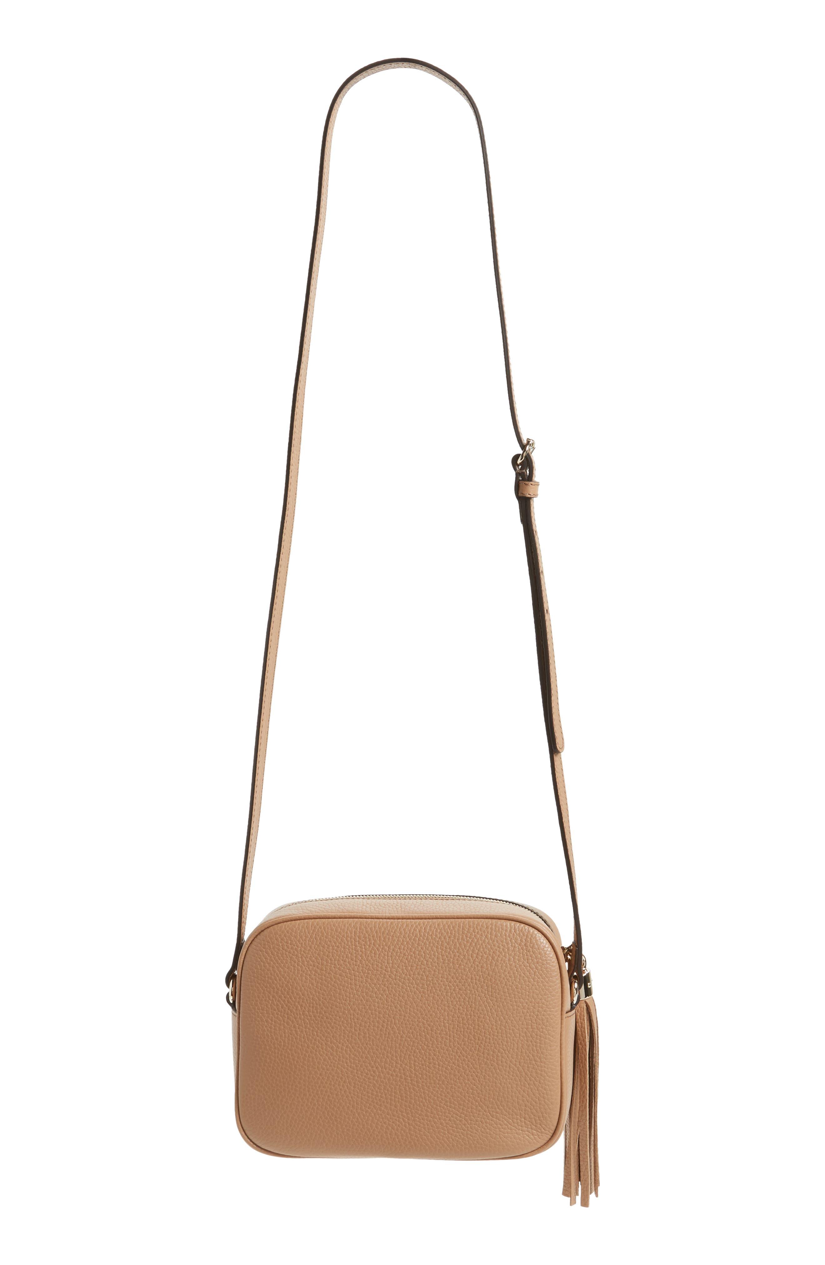 GUCCI, Soho Disco Leather Bag, Alternate thumbnail 3, color, 2754 CAMELIA