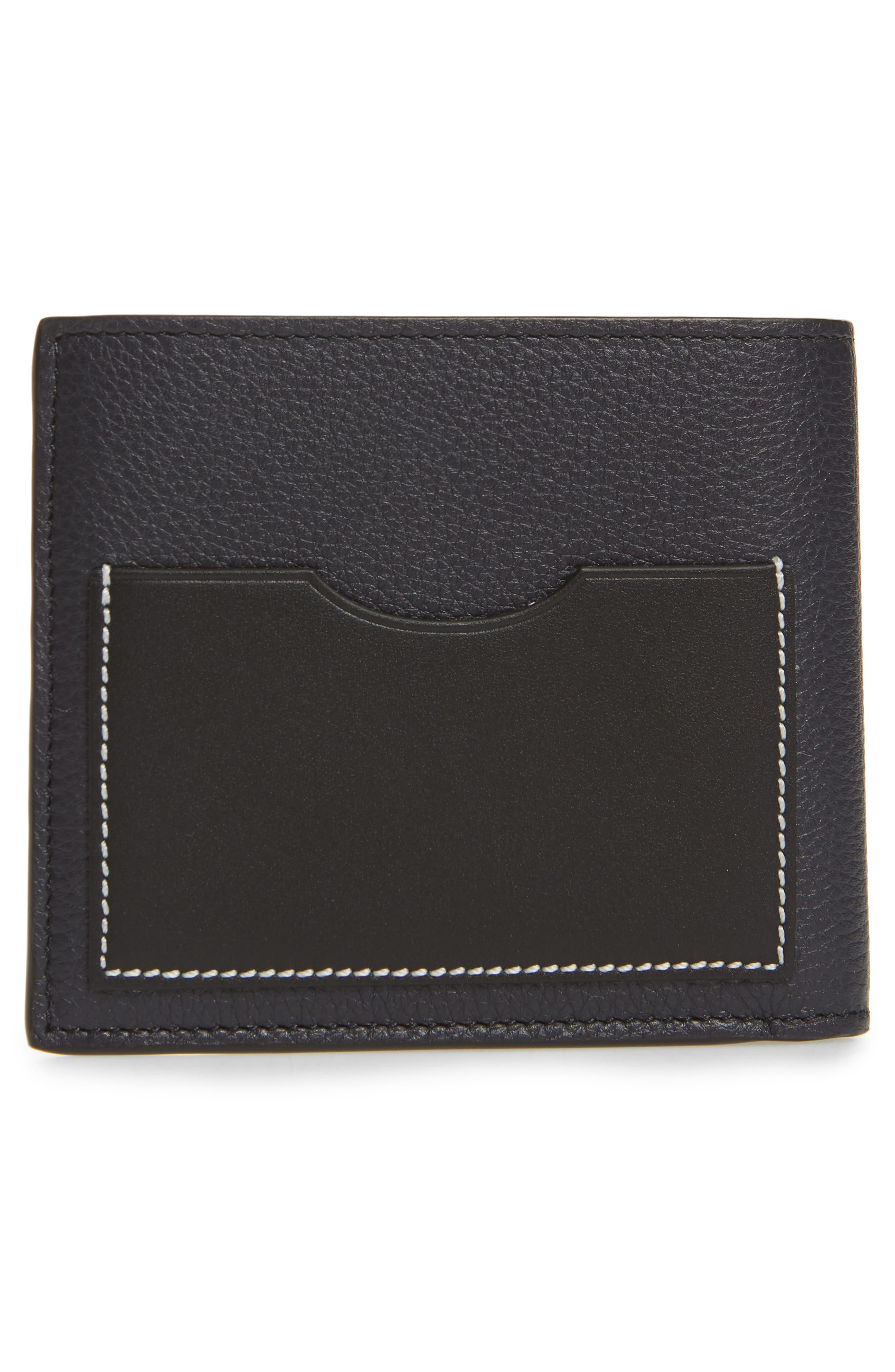 LOEWE, Calfskin Leather Bifold Wallet, Alternate thumbnail 3, color, MIDNIGHT