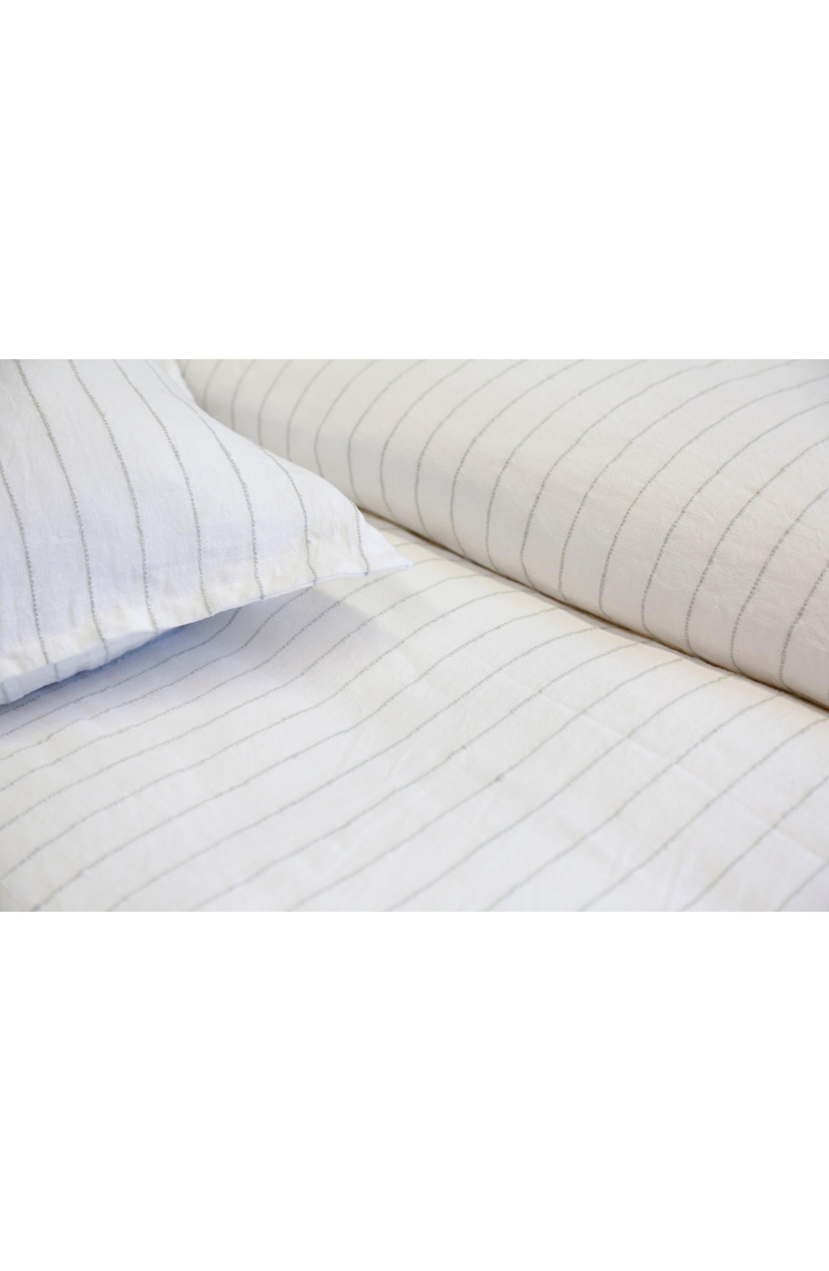 POM POM AT HOME, Blake Big Linen Accent Pillow, Alternate thumbnail 2, color, WHITE/ OCEAN