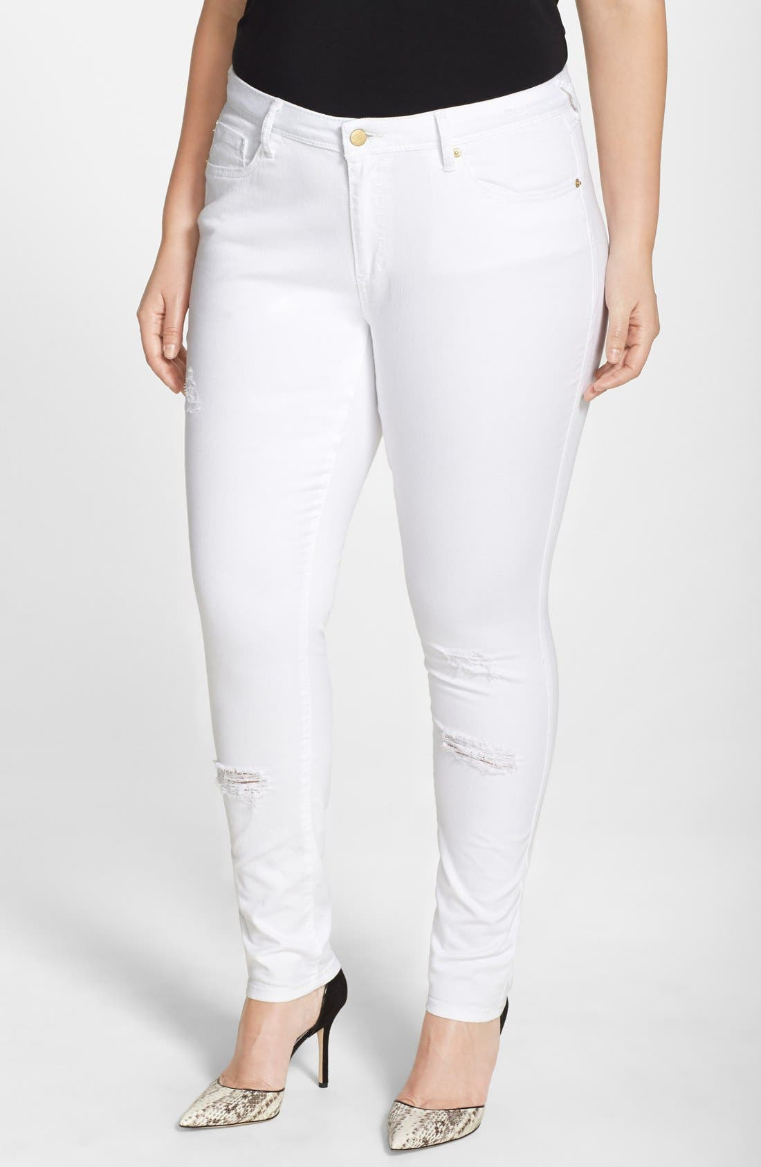 POETIC JUSTICE, 'Maya' Destroyed White Skinny Jeans, Main thumbnail 1, color, CASPER