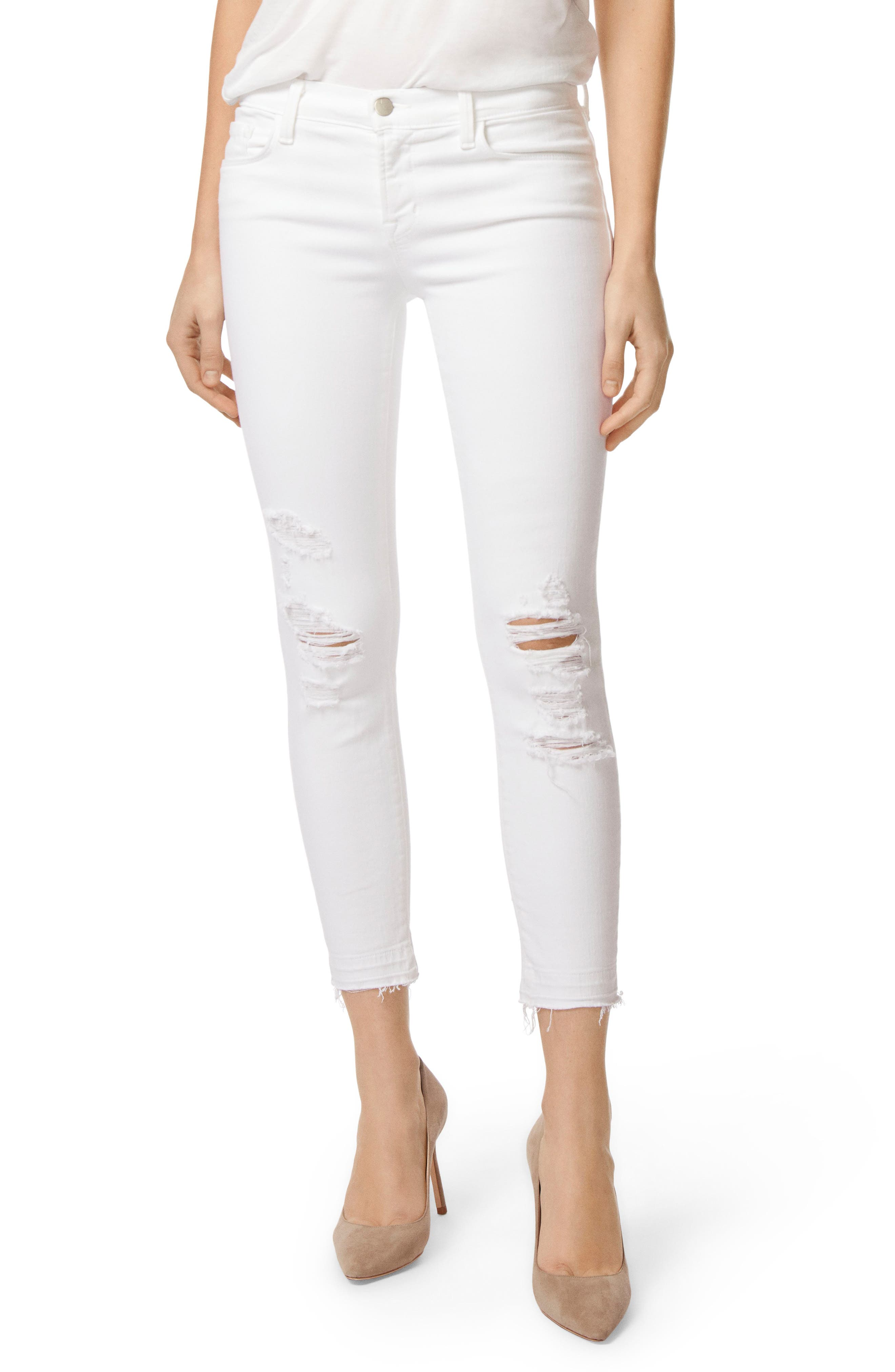 J BRAND, 9326 Low Rise Crop Skinny Jeans, Main thumbnail 1, color, DEMENTED WHITE DESTRUCTED
