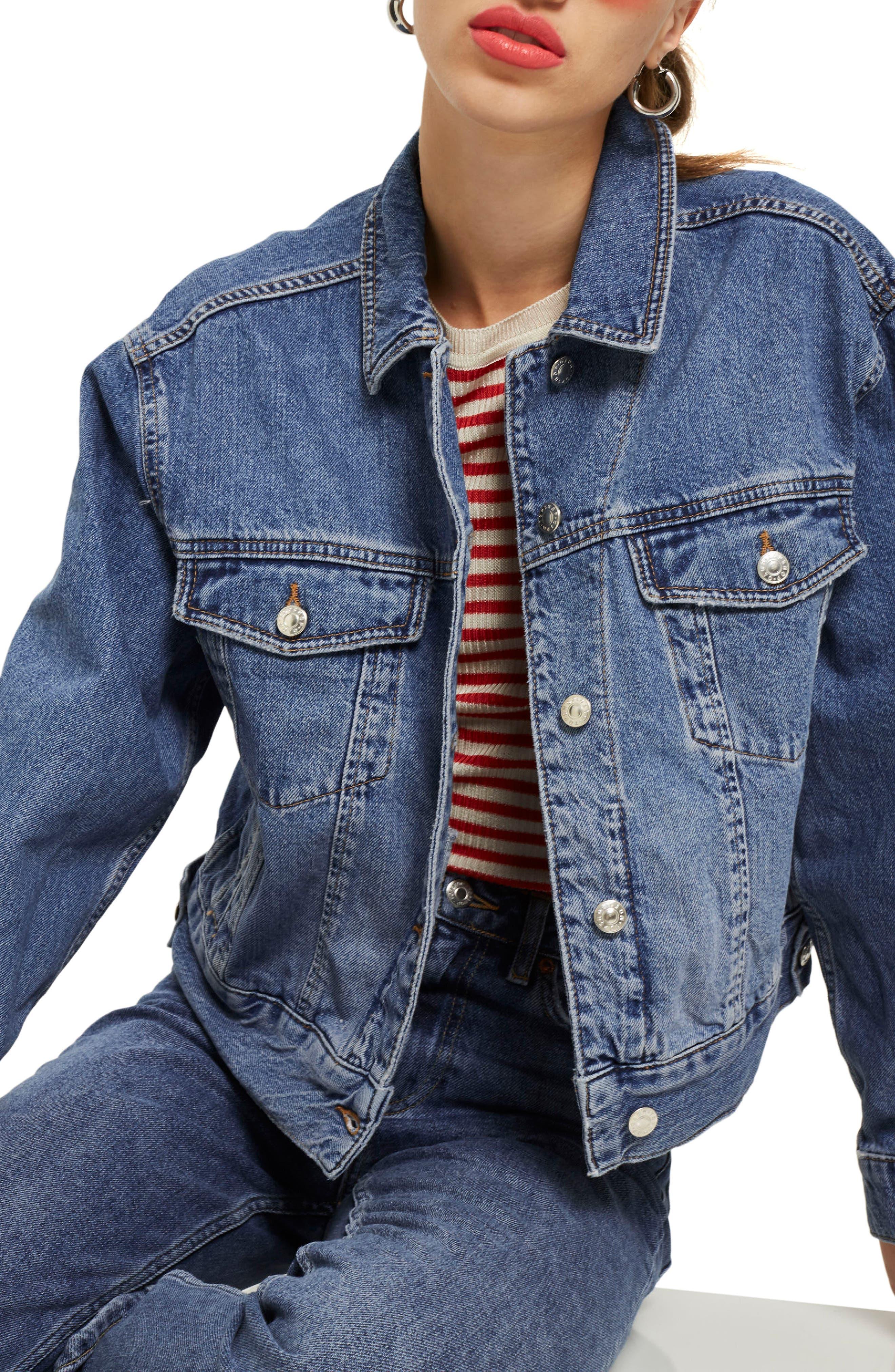 TOPSHOP Boxy Crop Denim Jacket, Main, color, MID DENIM