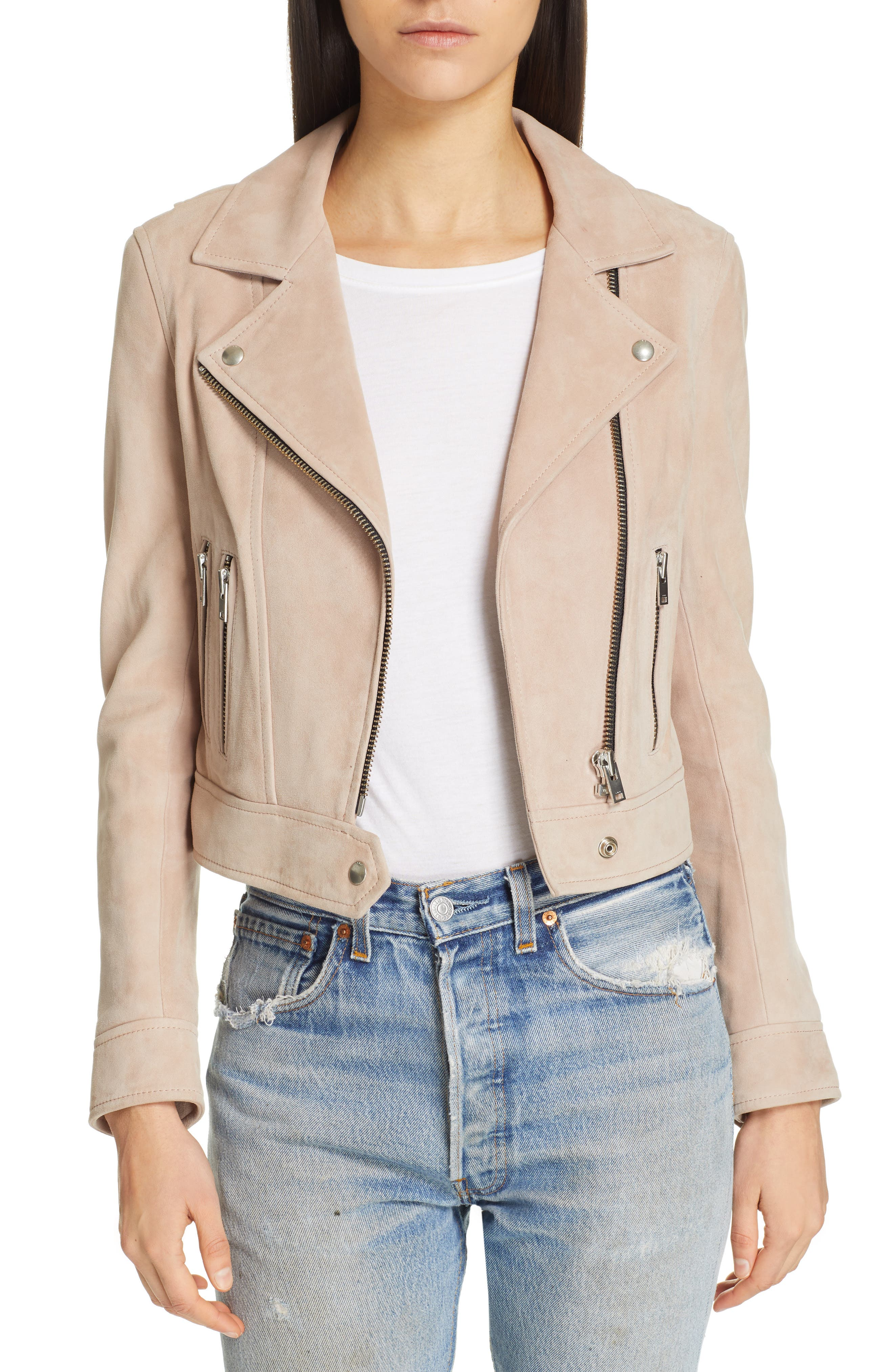 IRO Dembey Leather Moto Jacket, Main, color, PINK/ GREY