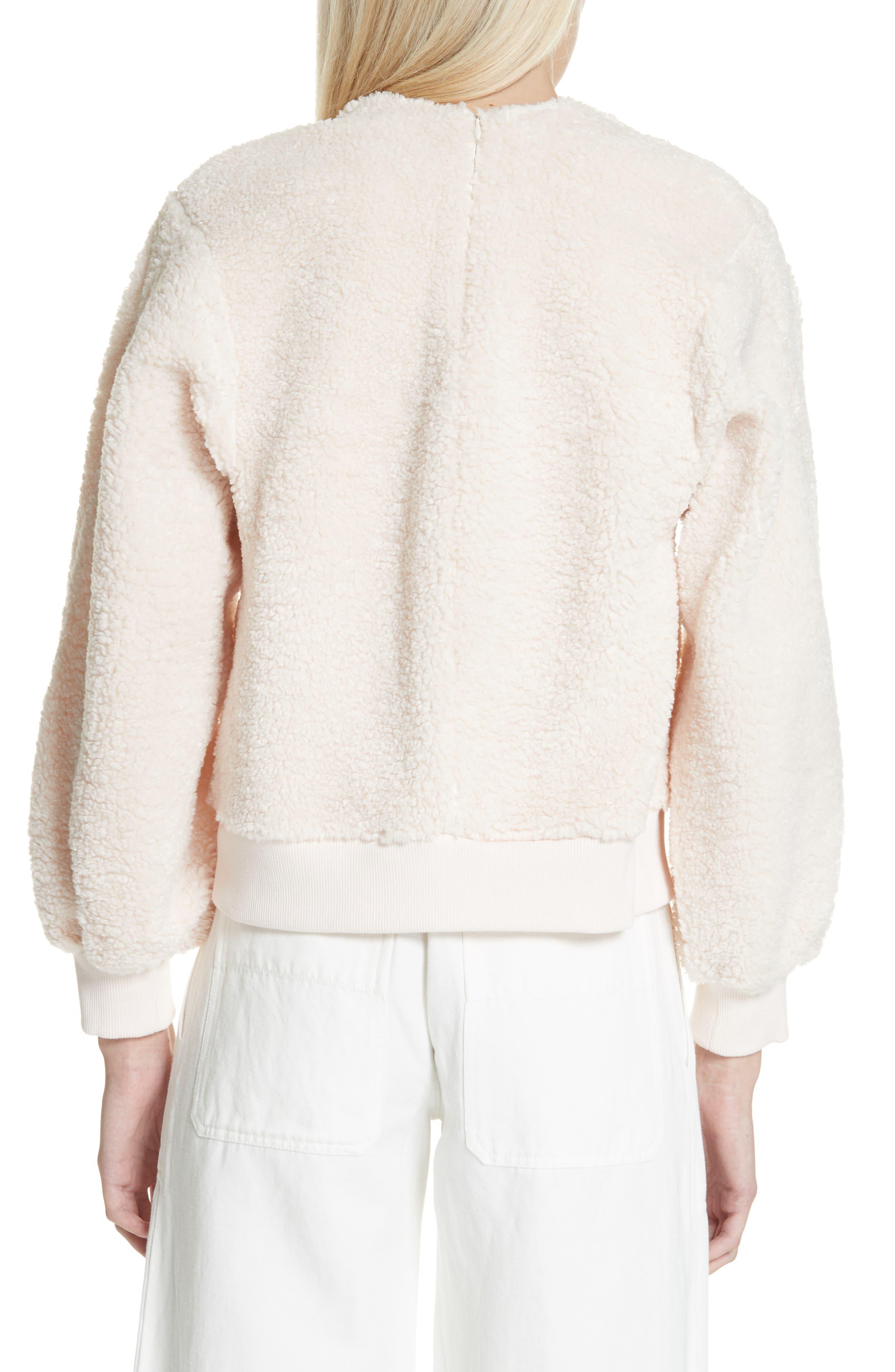 VINCE, Cozy Fleece Pullover, Alternate thumbnail 2, color, SOFT PINK