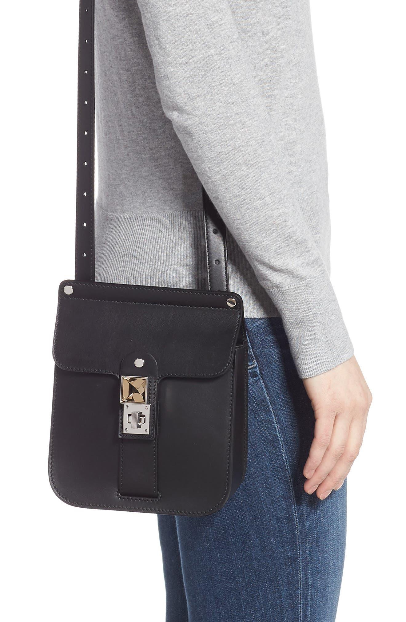 PROENZA SCHOULER, PS11 Box Leather Crossbody Bag, Alternate thumbnail 2, color, BLACK