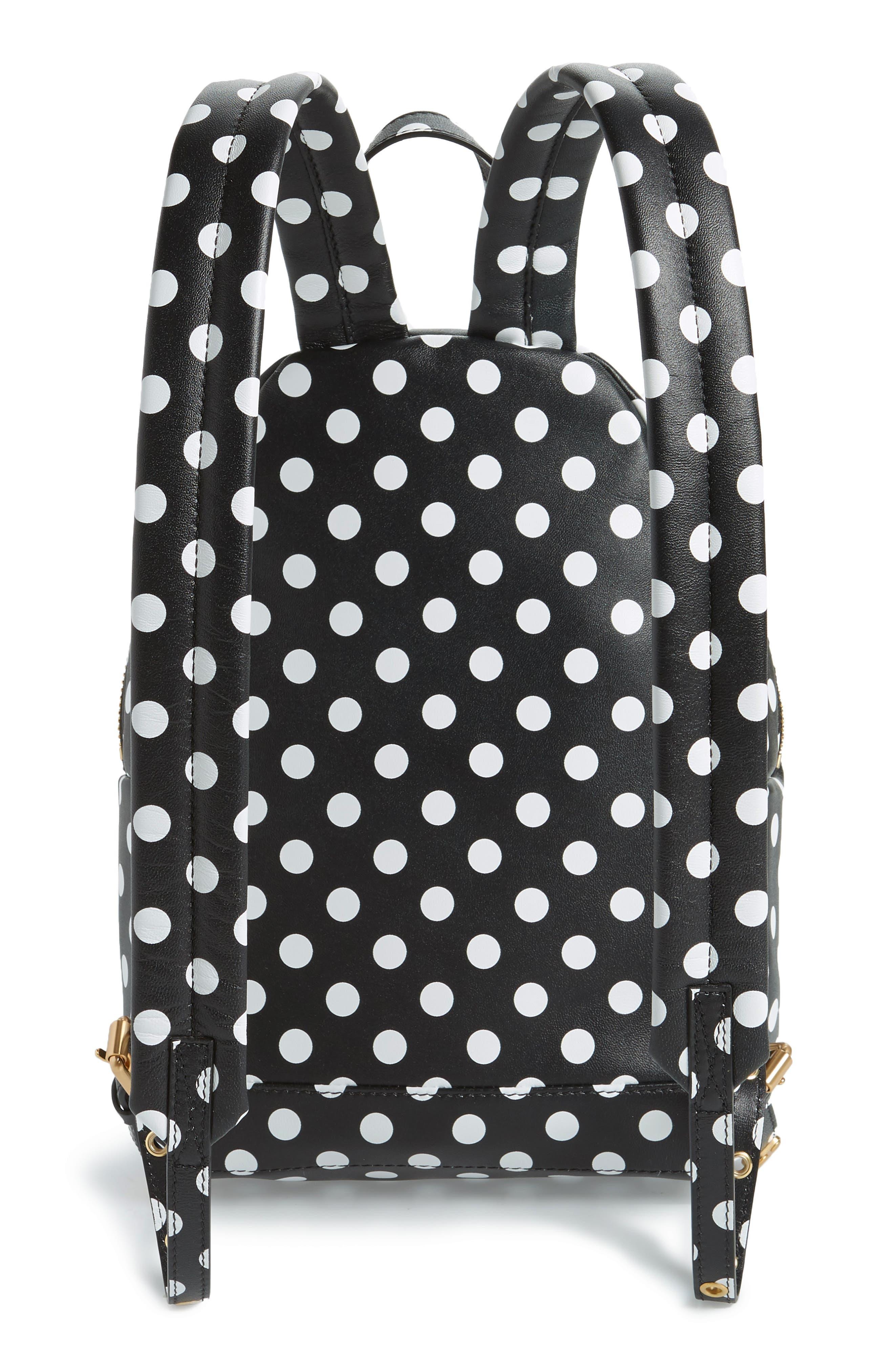 MOSCHINO, Logo Polka Dot Backpack, Alternate thumbnail 3, color, BLACK/ WHITE