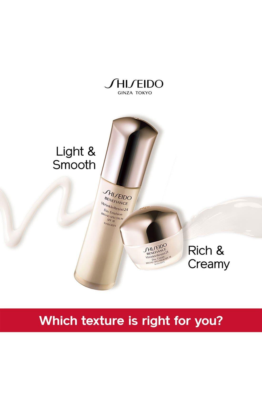 SHISEIDO, Benefiance WrinkleResist24 Day Cream SPF 18, Alternate thumbnail 3, color, NO COLOR