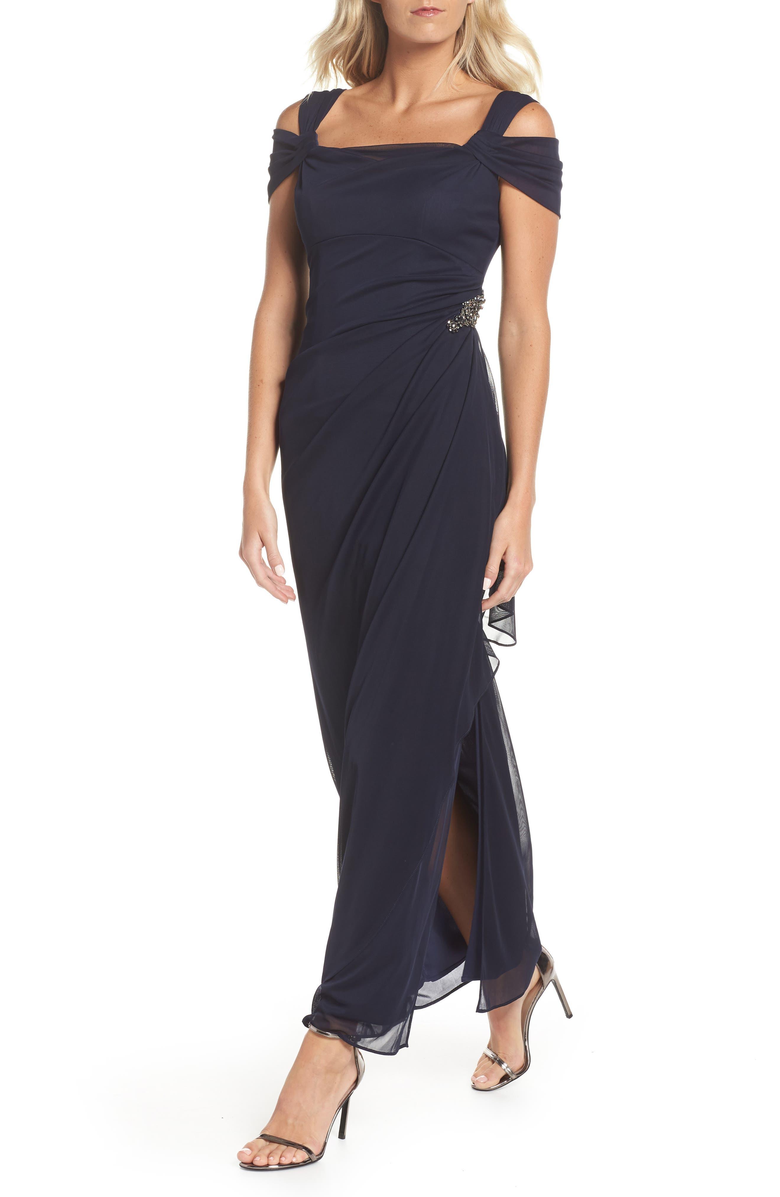 Alex Evenings Embellished Cold Shoulder Gown, Blue