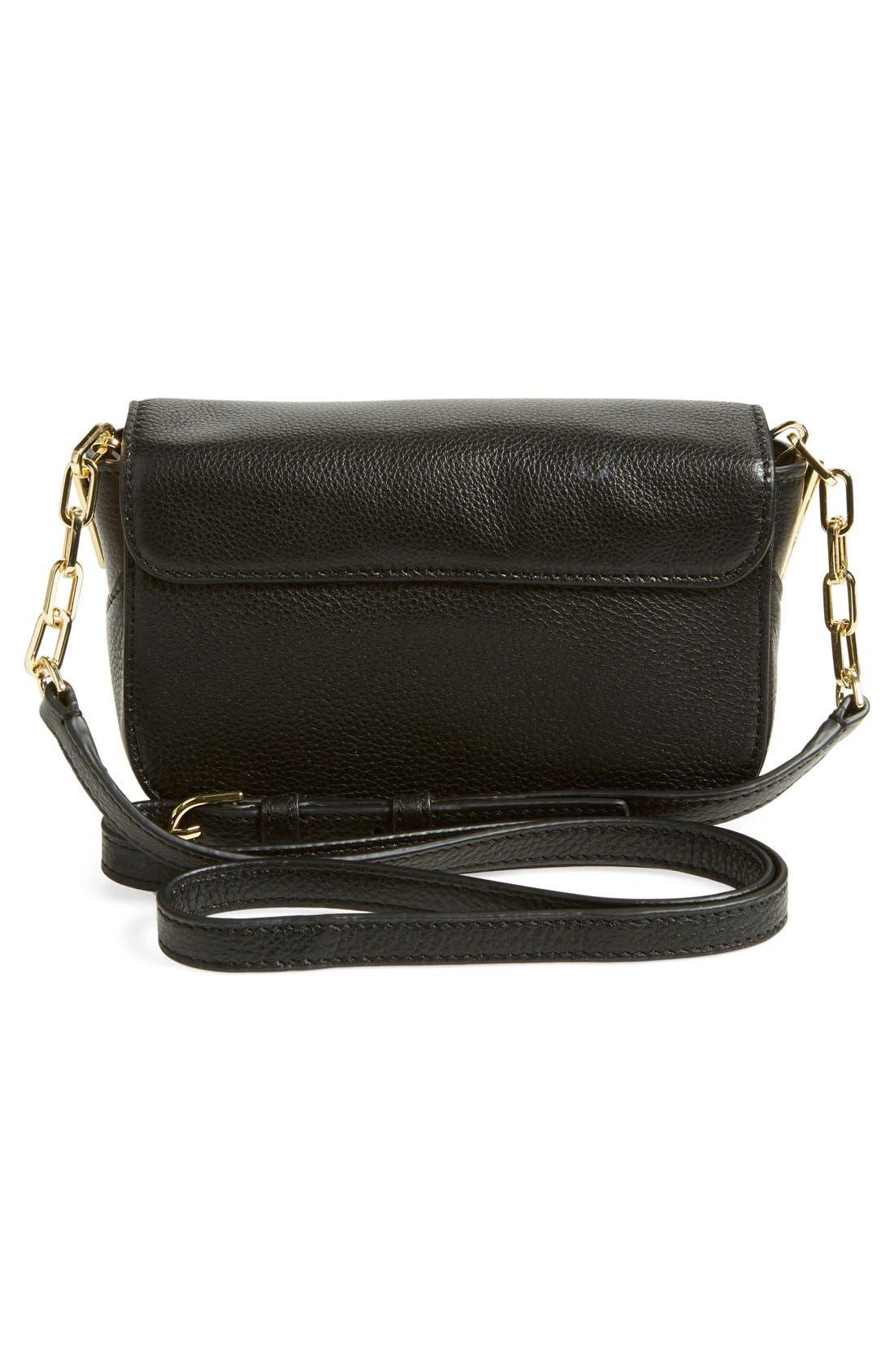 TORY BURCH, Mini Leather Crossbody Bag, Alternate thumbnail 2, color, 001