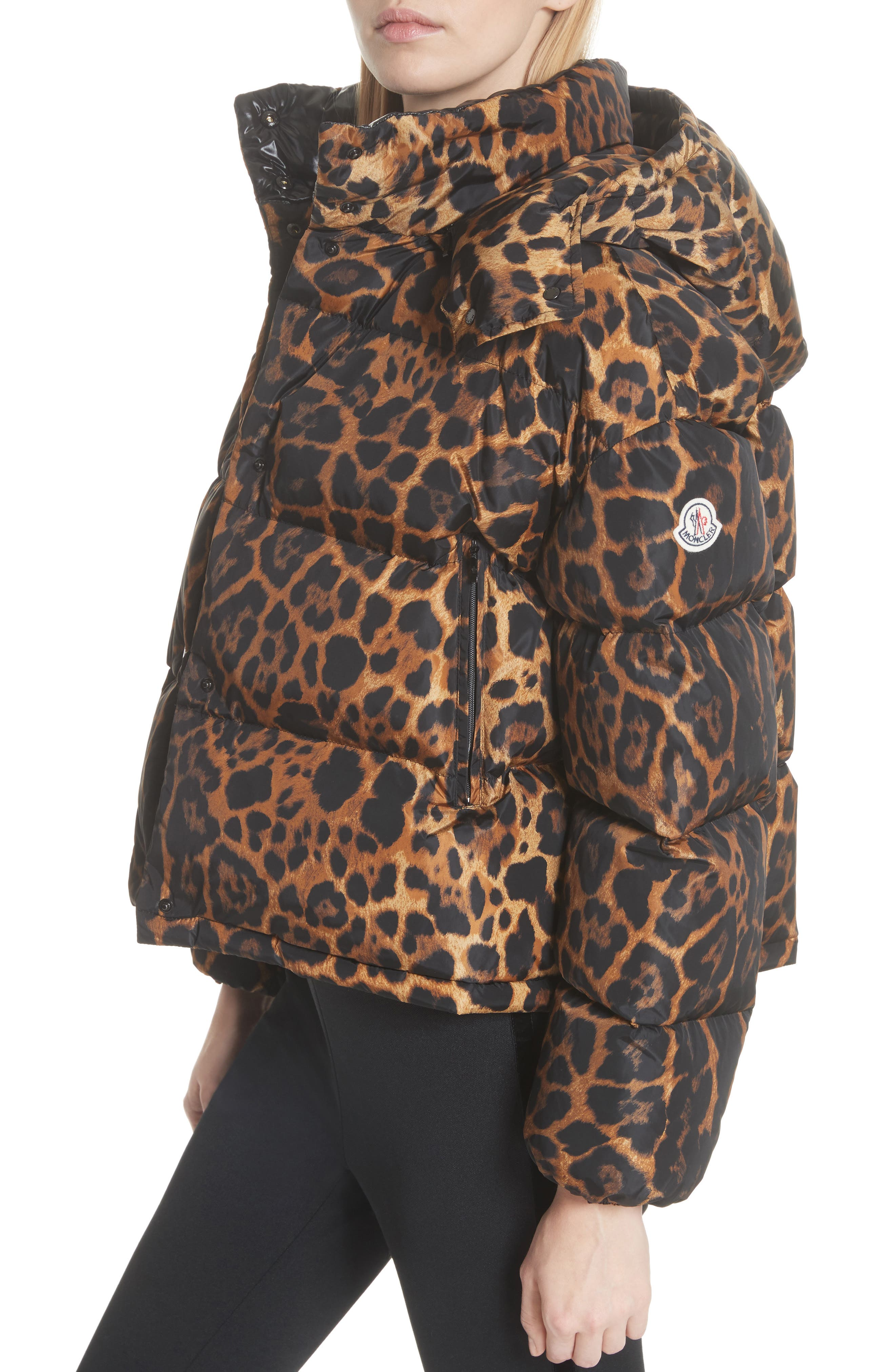 MONCLER, Caille Leopard Print Down Puffer Jacket, Alternate thumbnail 5, color, 240
