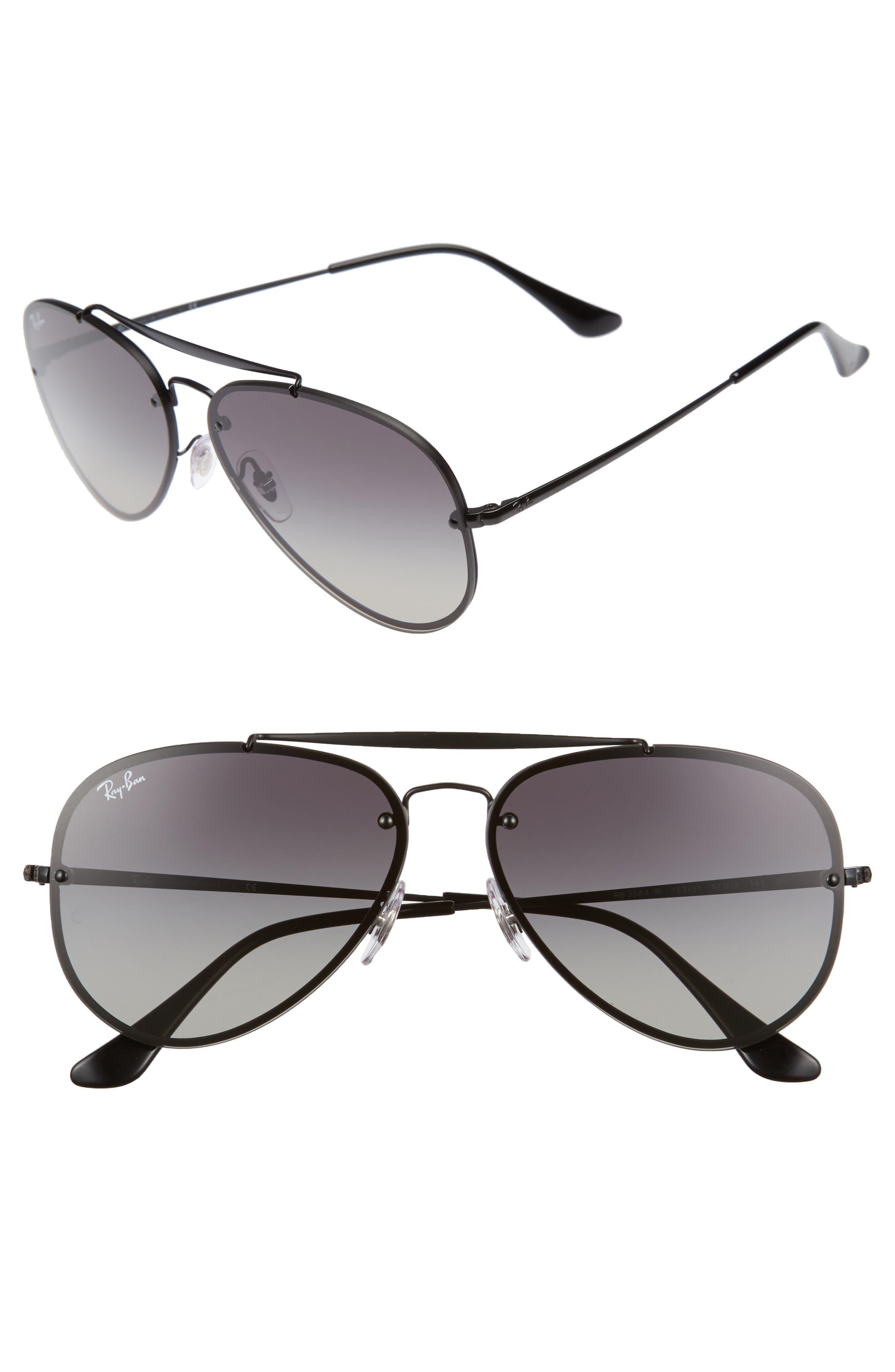 RAY-BAN, 61mm Gradient Lens Aviator Sunglasses, Main thumbnail 1, color, SHINY BLACK