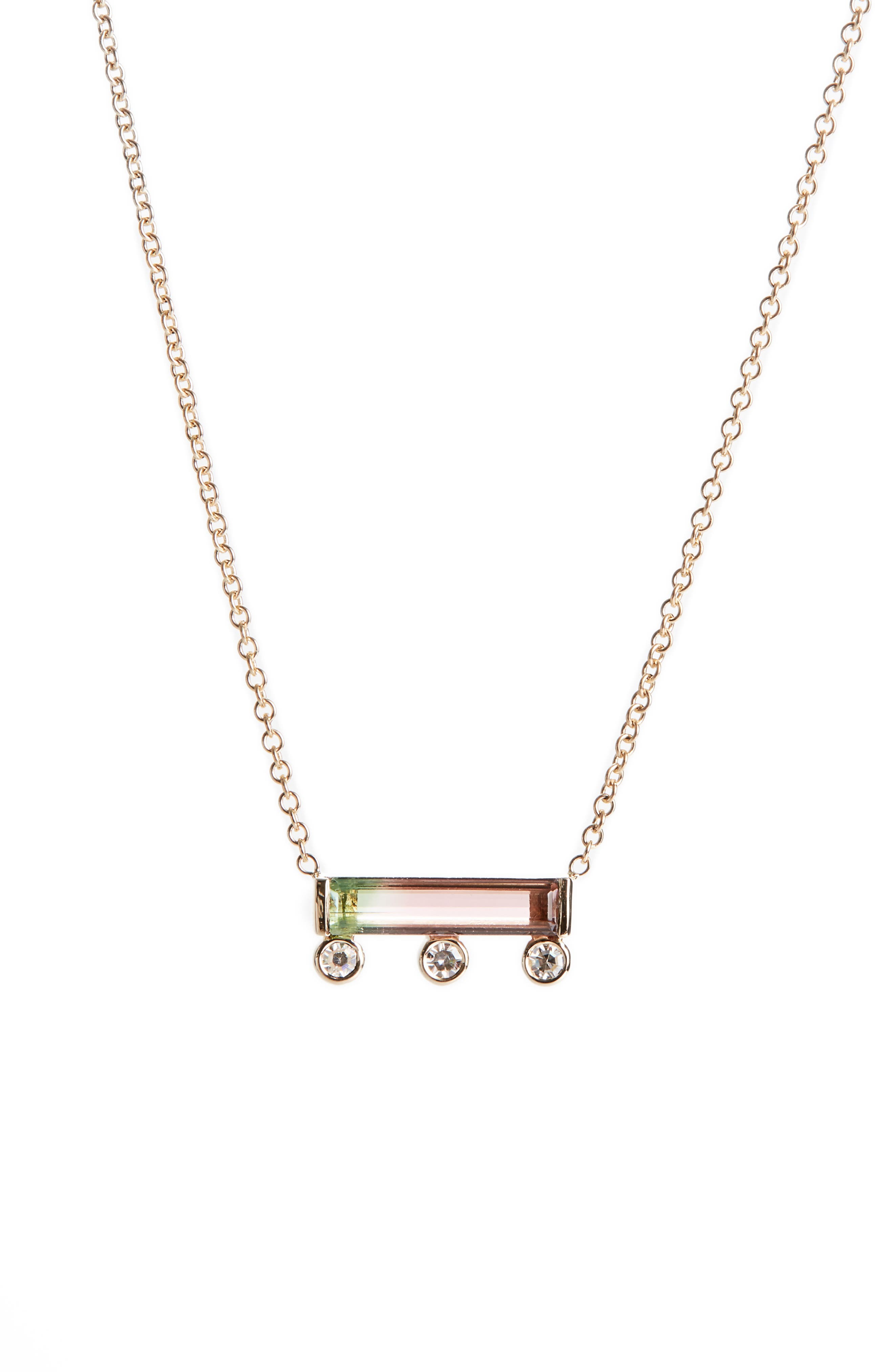 MOCIUN, Watermelon Tourmaline & Diamond Necklace, Main thumbnail 1, color, 690