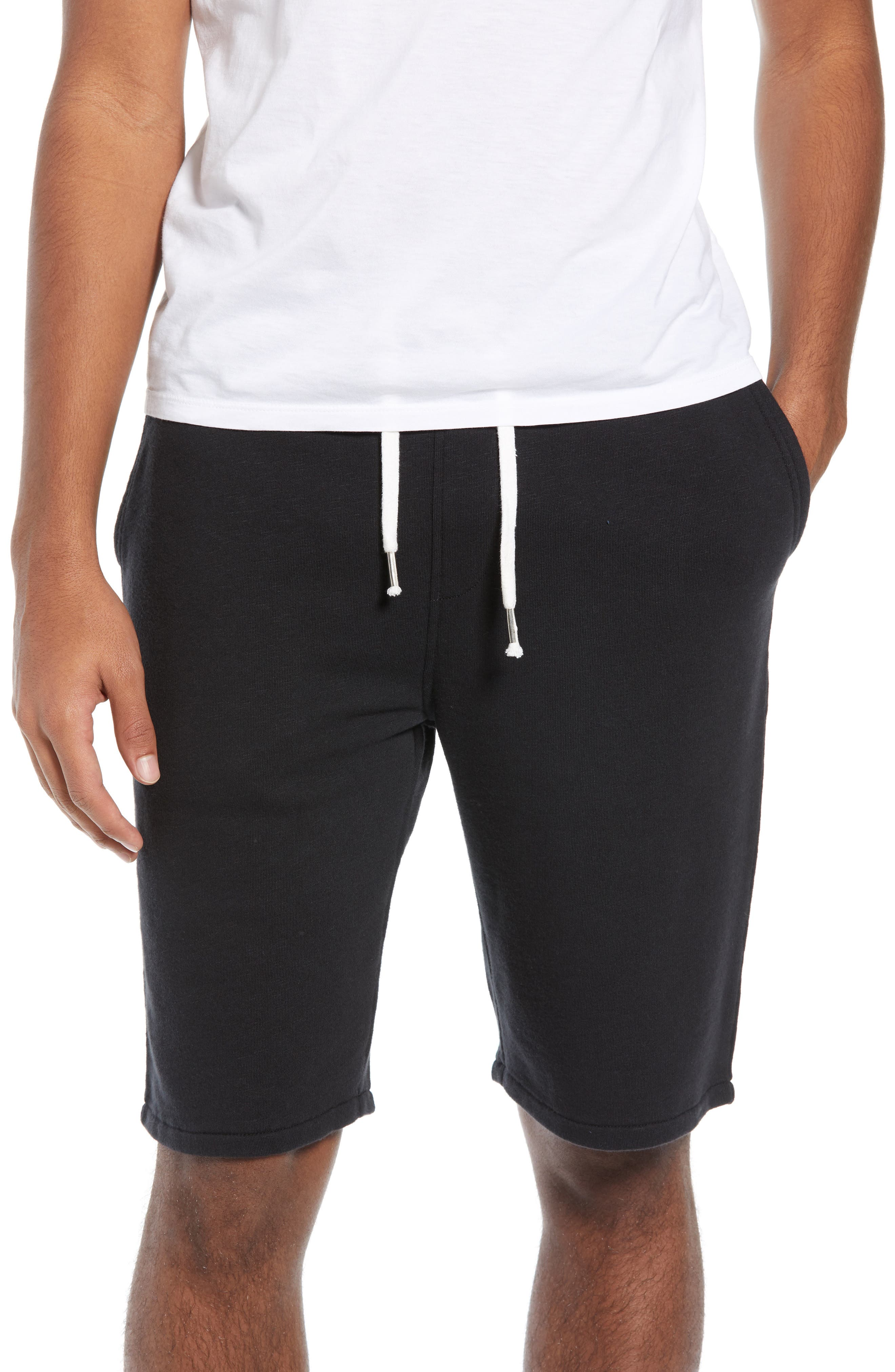 THE RAIL Terry Athletic Shorts, Main, color, BLACK ROCK