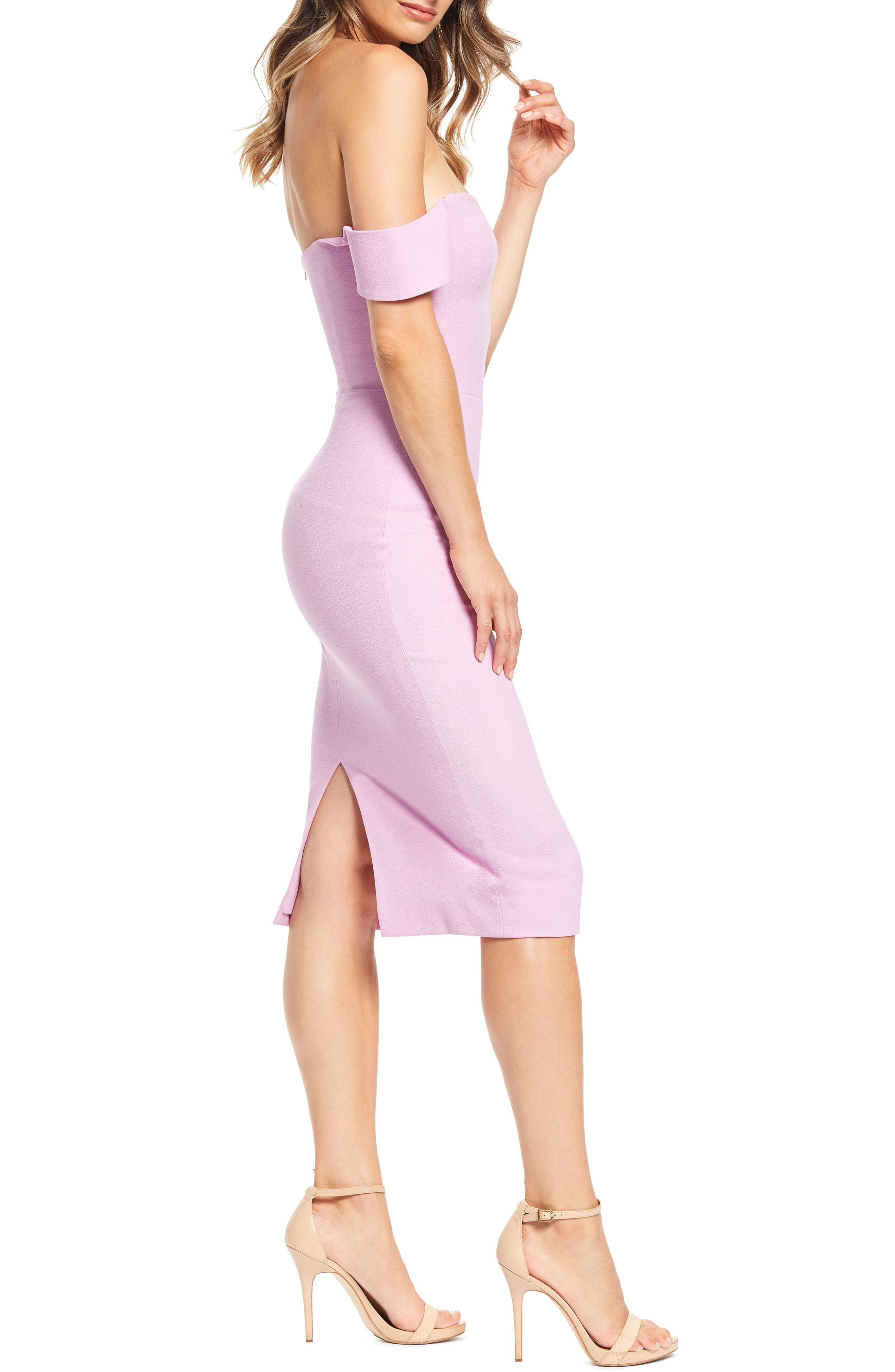 DRESS THE POPULATION, Bailey Off the Shoulder Body-Con Dress, Alternate thumbnail 4, color, LAVENDER