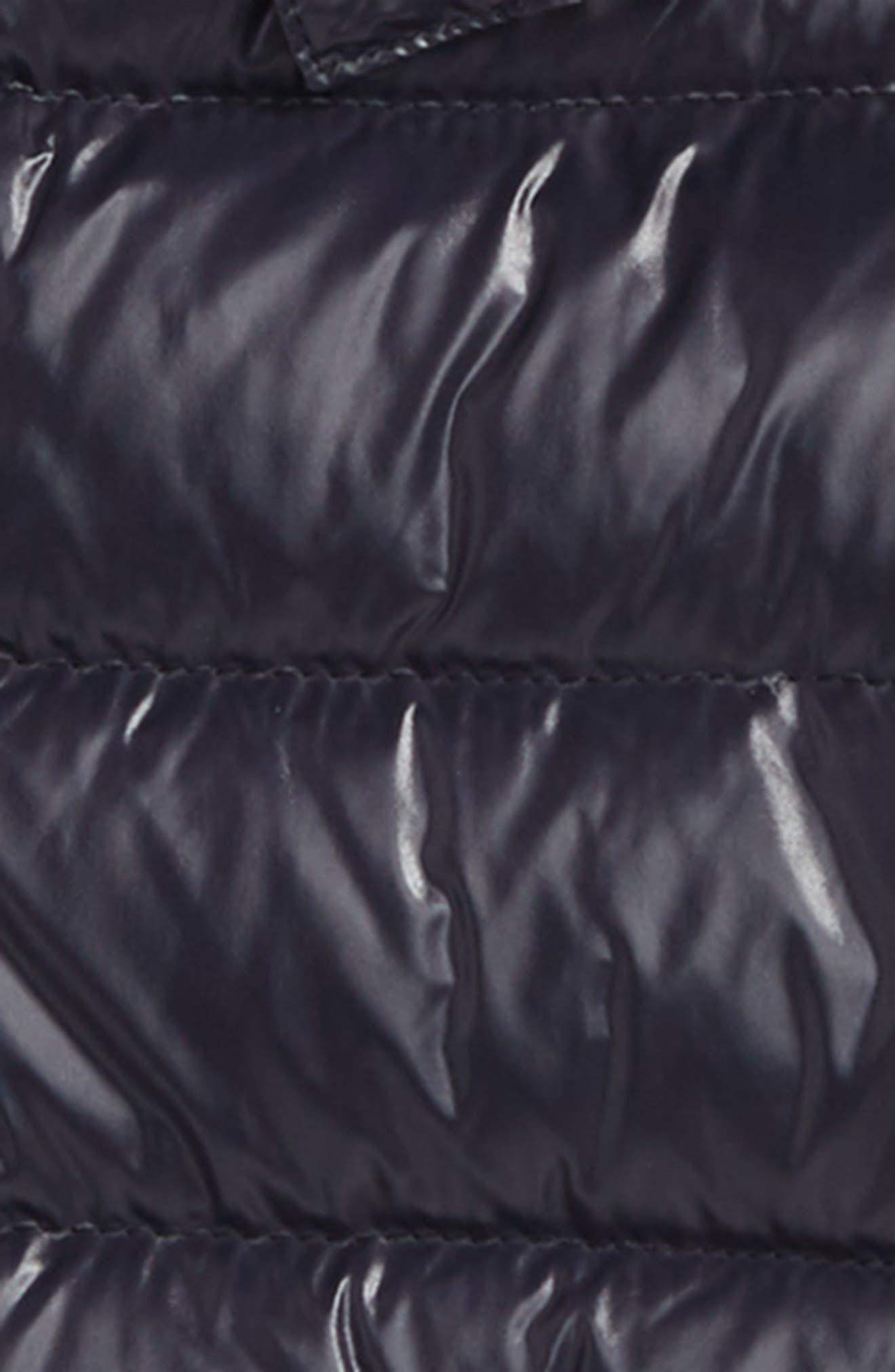 MONCLER, Moka Long Hooded Water Resistant Down Jacket, Alternate thumbnail 2, color, NAVY
