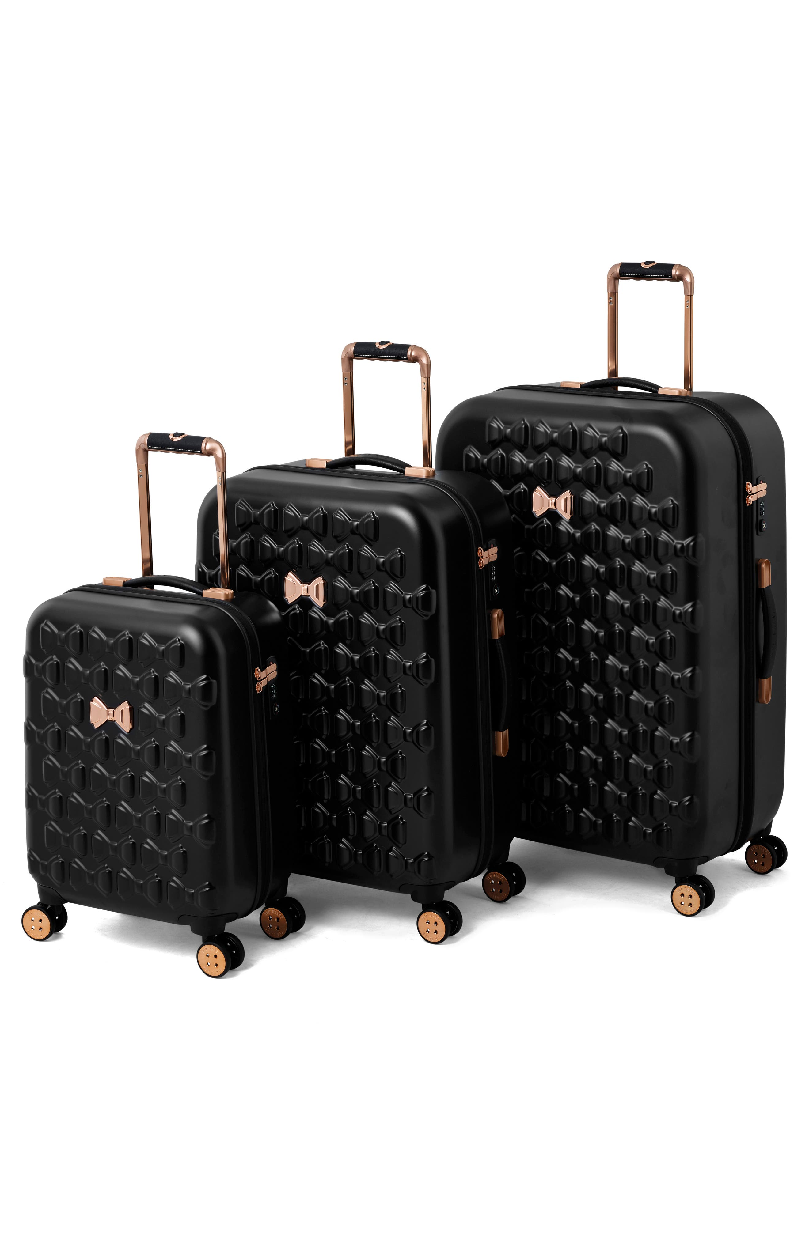 TED BAKER LONDON, Small Beau 22-Inch Bow Embossed Four-Wheel Trolley Suitcase, Alternate thumbnail 6, color, BLACK