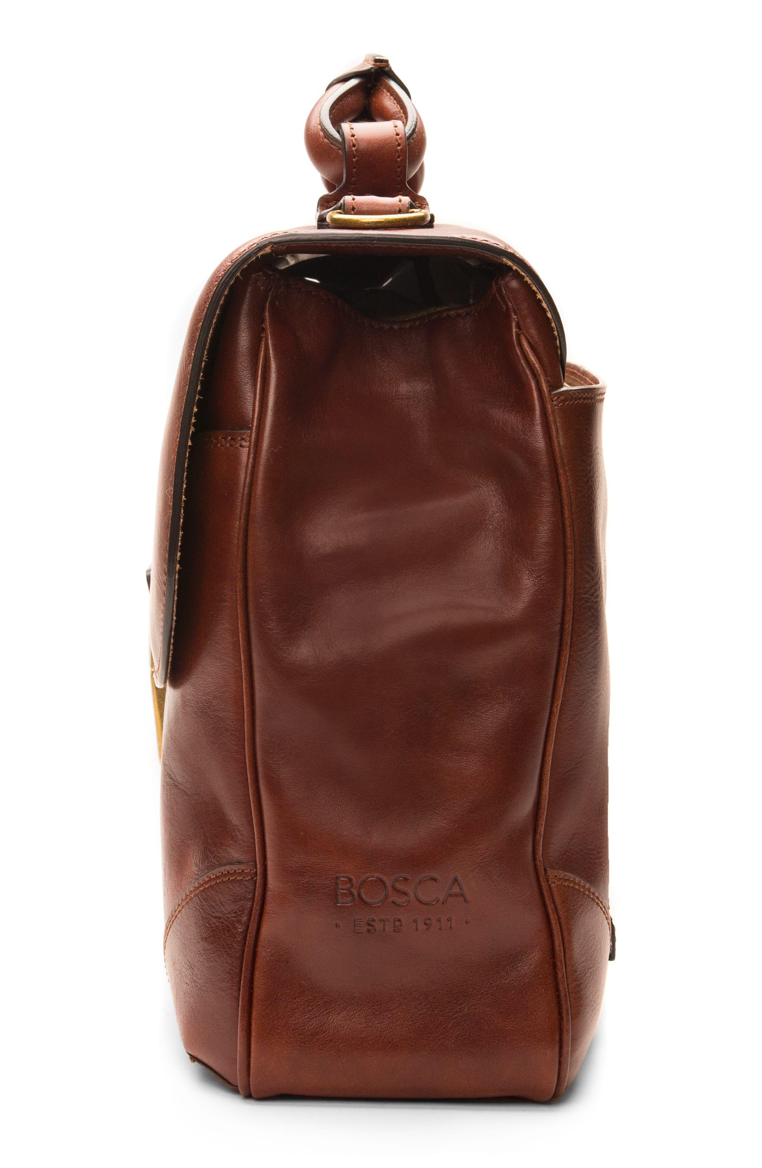 BOSCA, Leather Briefcase, Alternate thumbnail 4, color, DARK BROWN