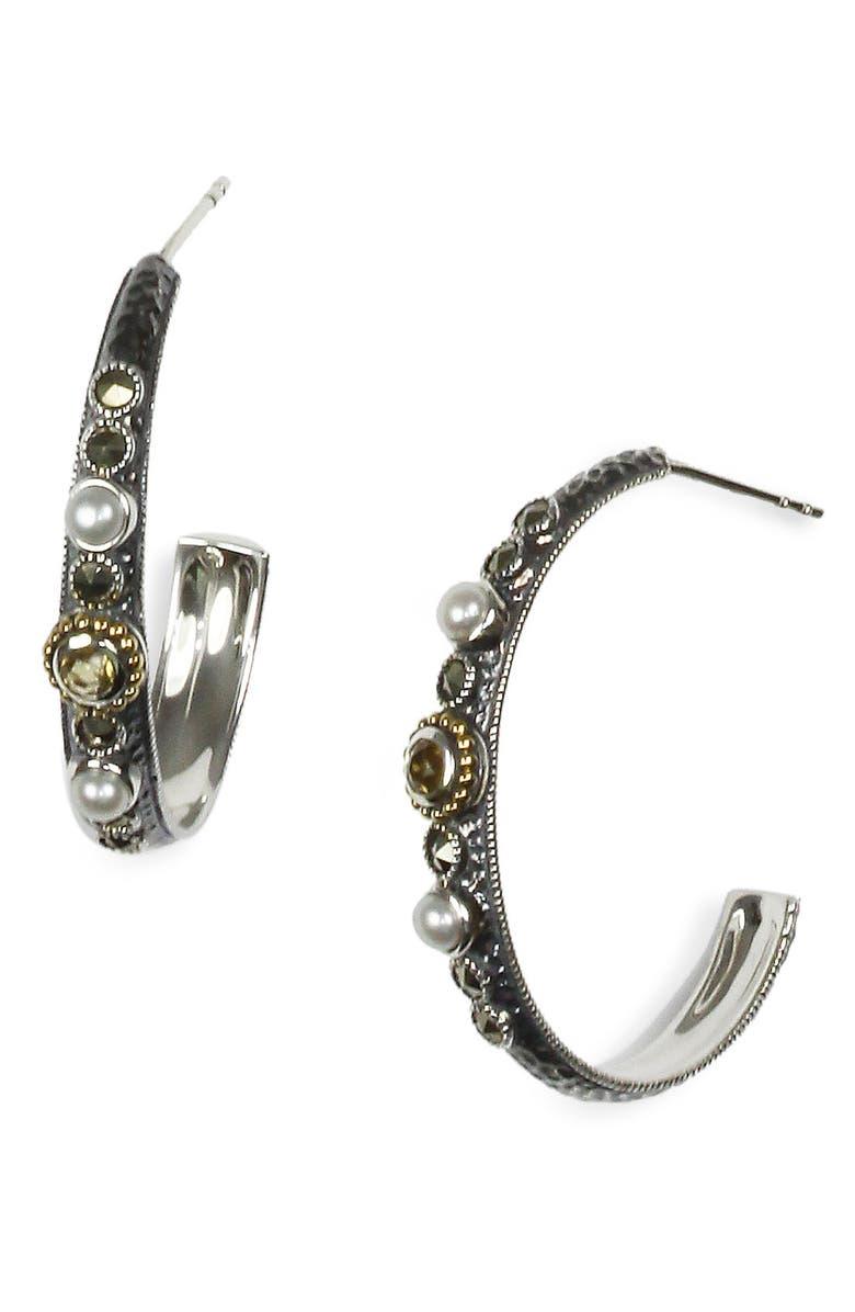 d200d2731 Judith Jack 'Nocturnal' Quartz & Marcasite Hoop Earrings | Nordstrom