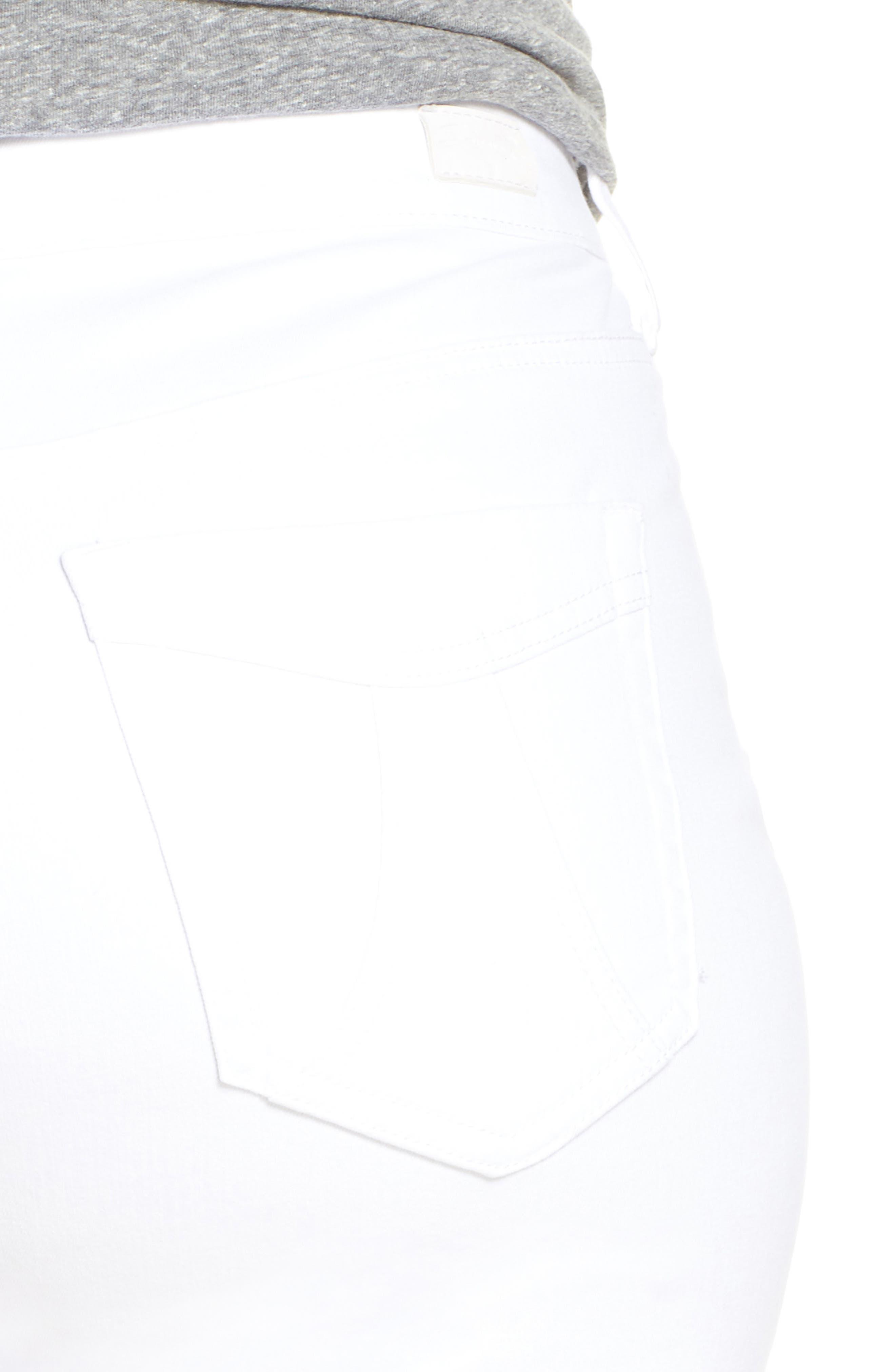 SEVEN7, High Waist Stretch Denim Shorts, Alternate thumbnail 5, color, BLANC DE BLANC