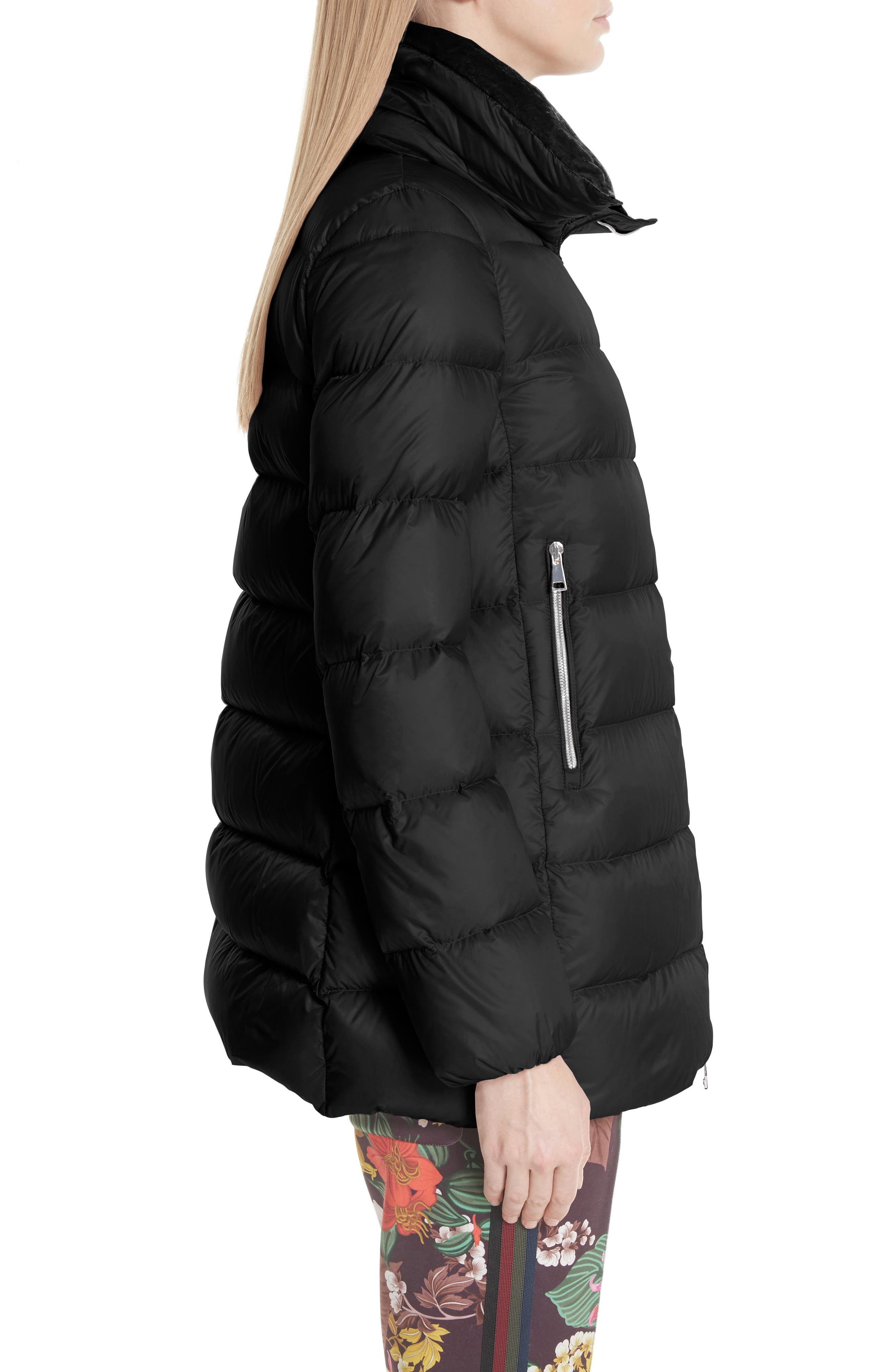 MONCLER, Torcol Quilted Down Jacket, Alternate thumbnail 3, color, BLACK