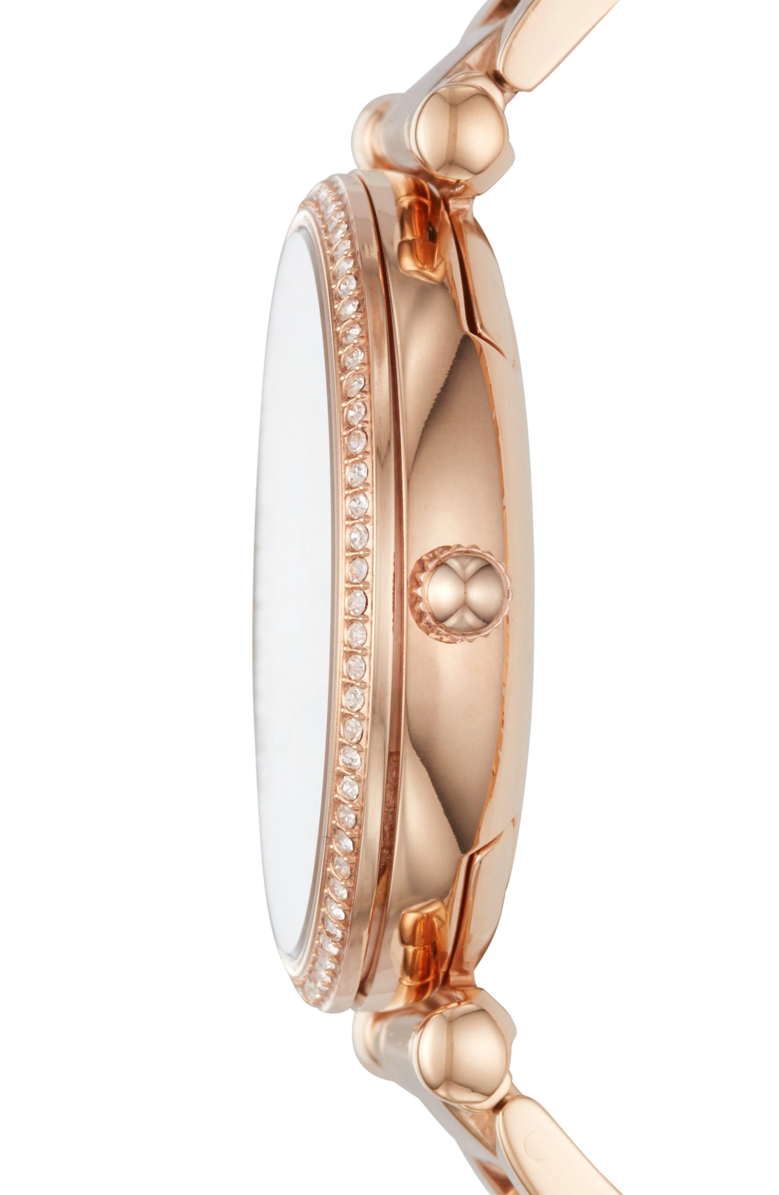 FOSSIL, Carlie T-Bar Crystal Bracelet Watch, 35mm, Alternate thumbnail 2, color, ROSE GOLD