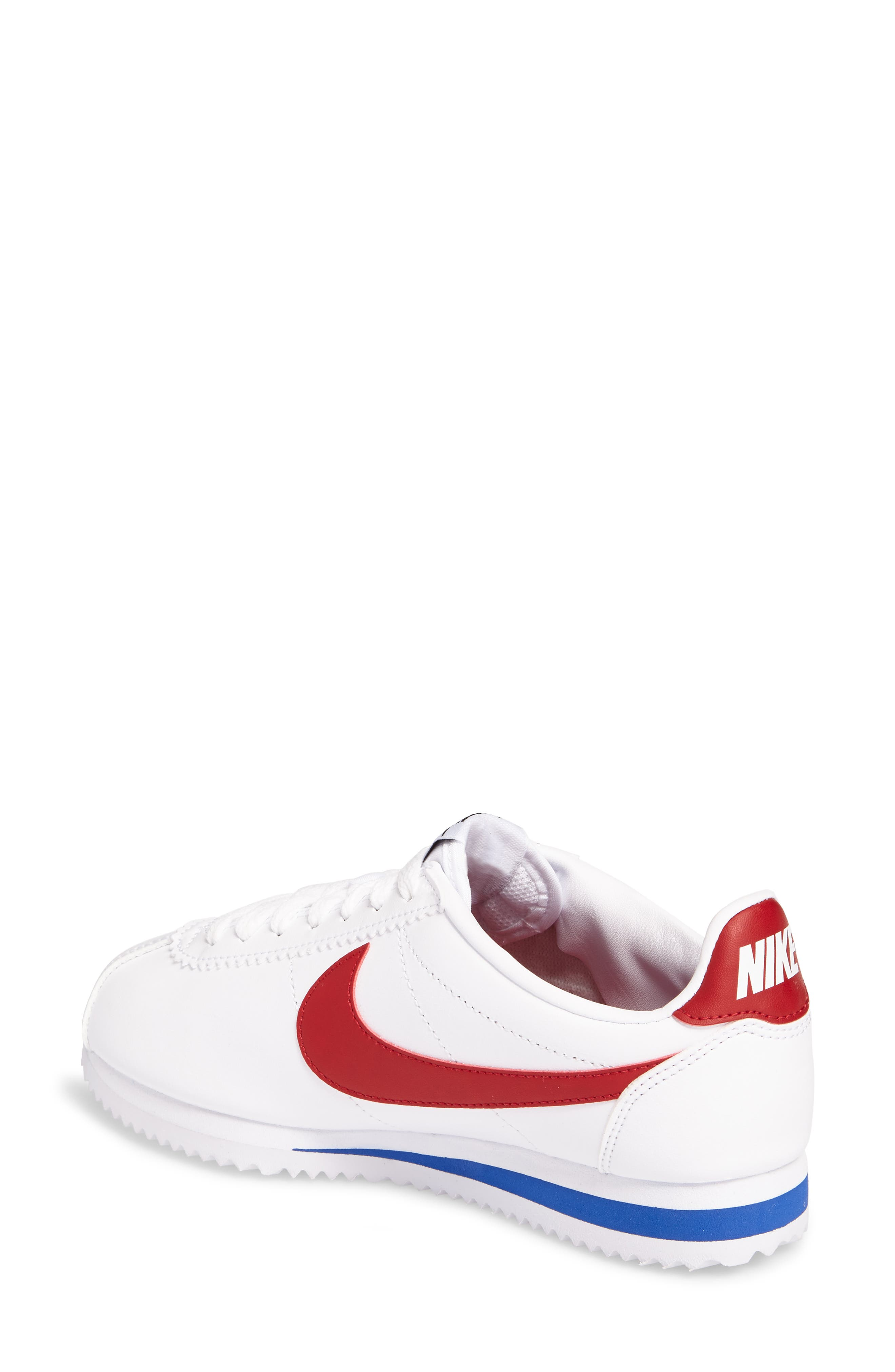 NIKE, Classic Cortez Sneaker, Alternate thumbnail 2, color, WHITE/ VARSITY RED
