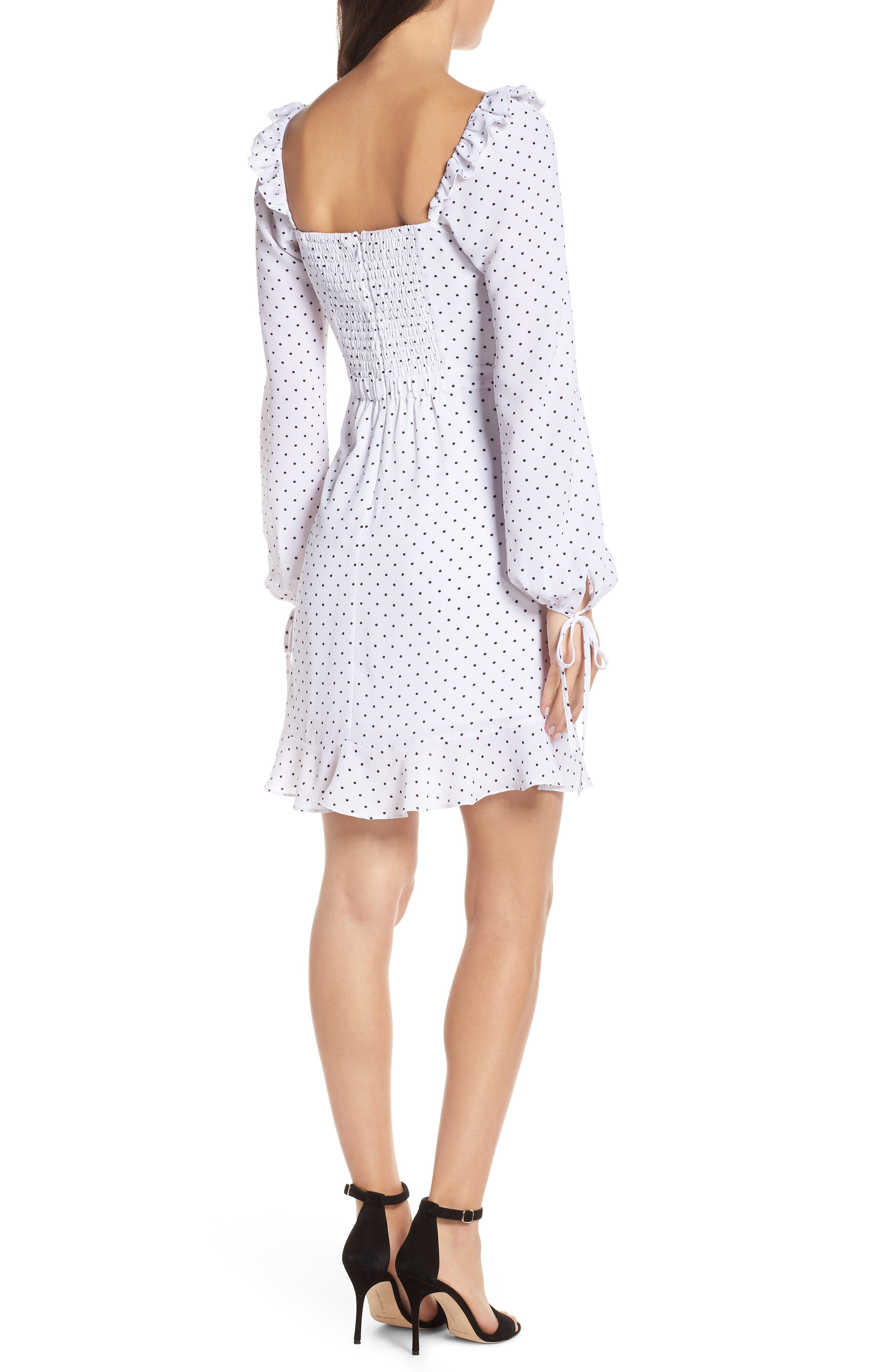 ALI & JAY, In Bloom Polka Dot Asymmetrical Dress, Alternate thumbnail 2, color, 100
