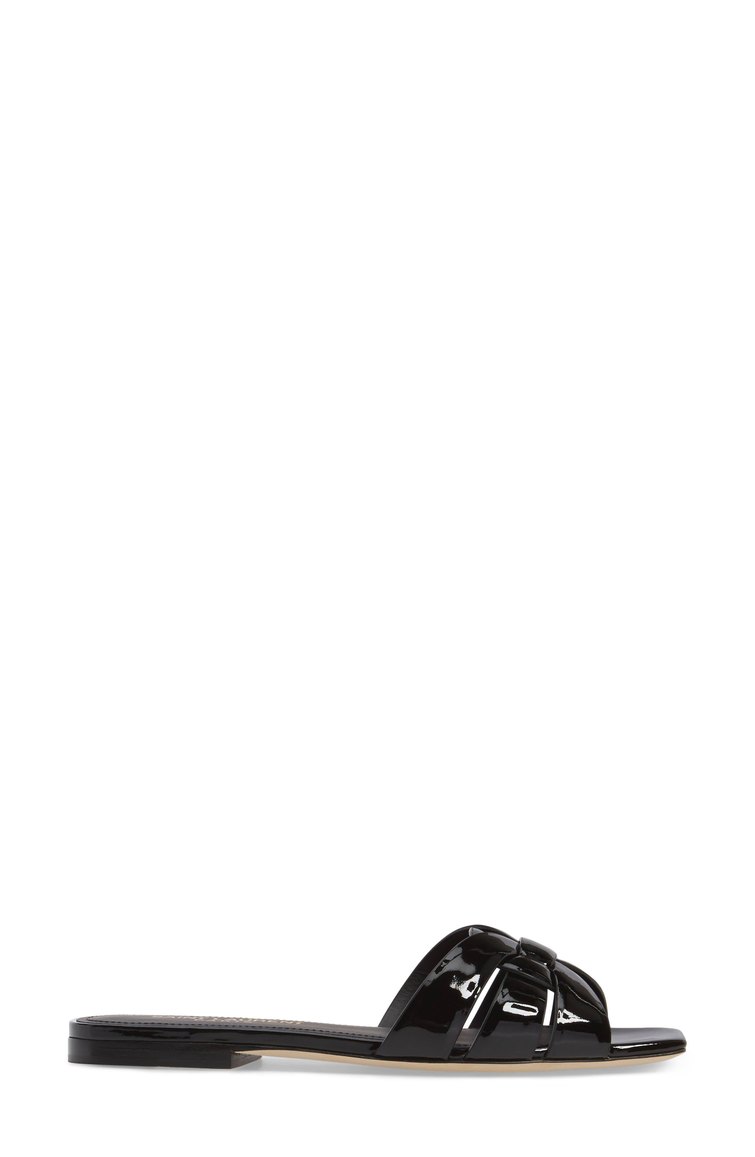 SAINT LAURENT, Tribute Slide Sandal, Alternate thumbnail 3, color, BLACK PATENT