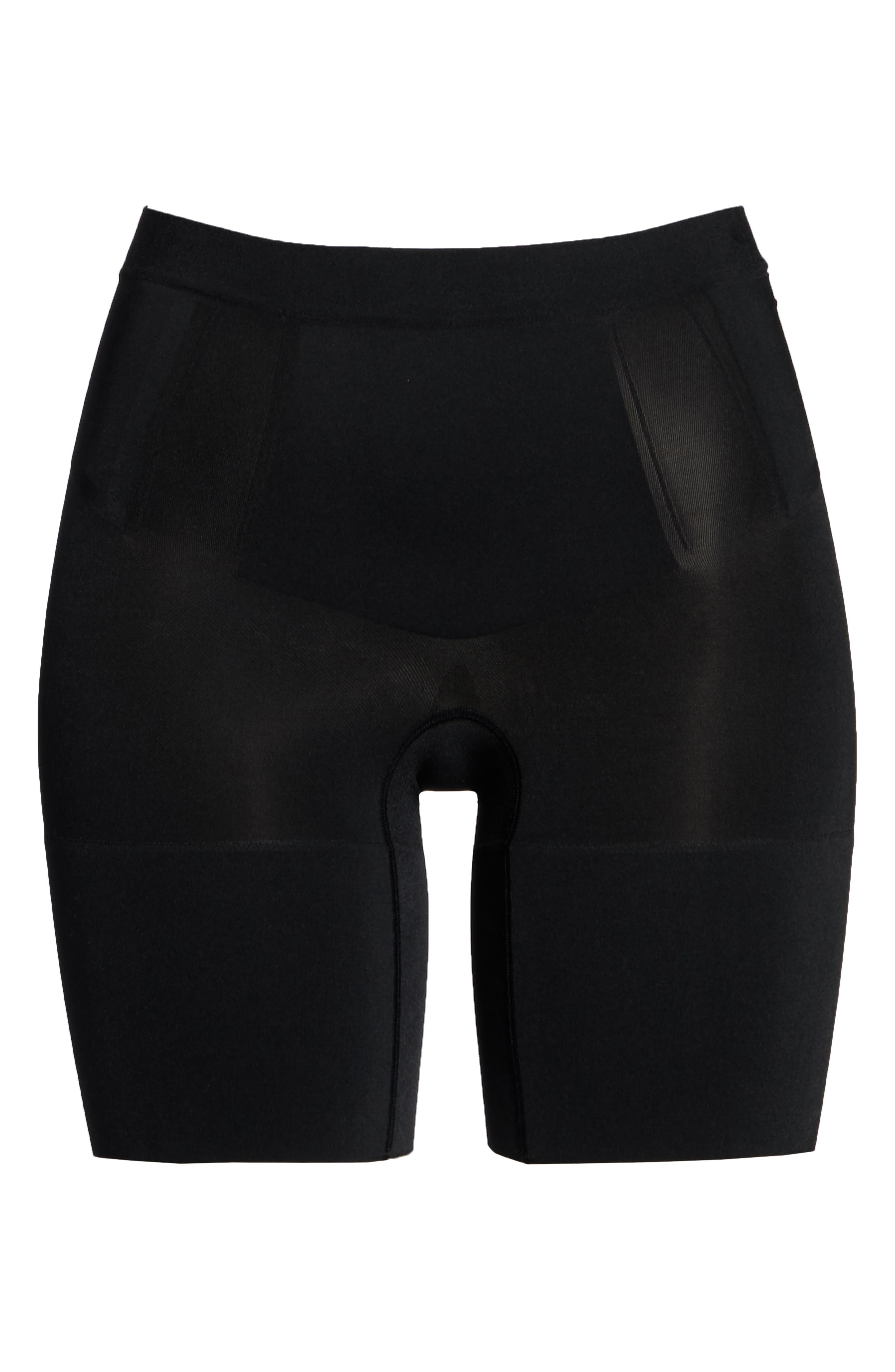 SPANX<SUP>®</SUP>, OnCore Mid Thigh Shorts, Alternate thumbnail 7, color, BLACK