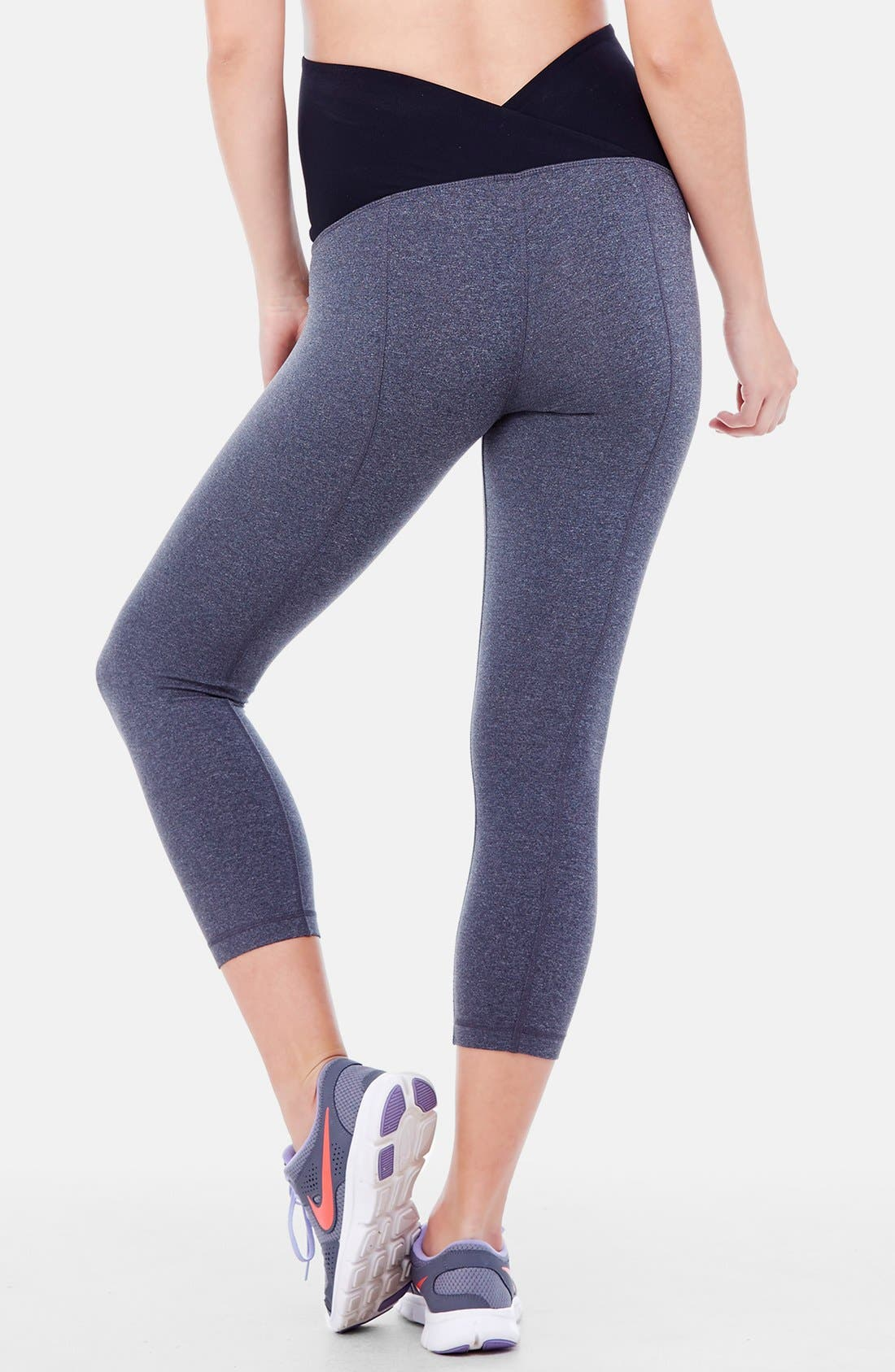INGRID & ISABEL<SUP>®</SUP>, Active Maternity Capri Pants with Crossover Panel, Alternate thumbnail 4, color, DARK HEATHER GREY