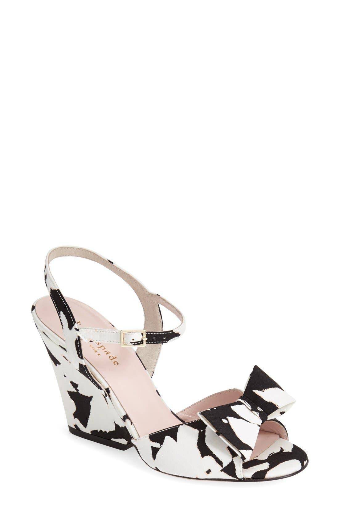 KATE SPADE NEW YORK 'imari' satin ankle strap sandal, Main, color, 001