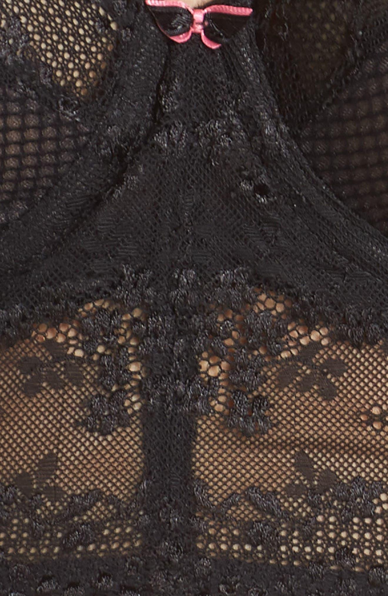 ELOMI, Charley Longline Underwire Bra, Alternate thumbnail 7, color, BLACK