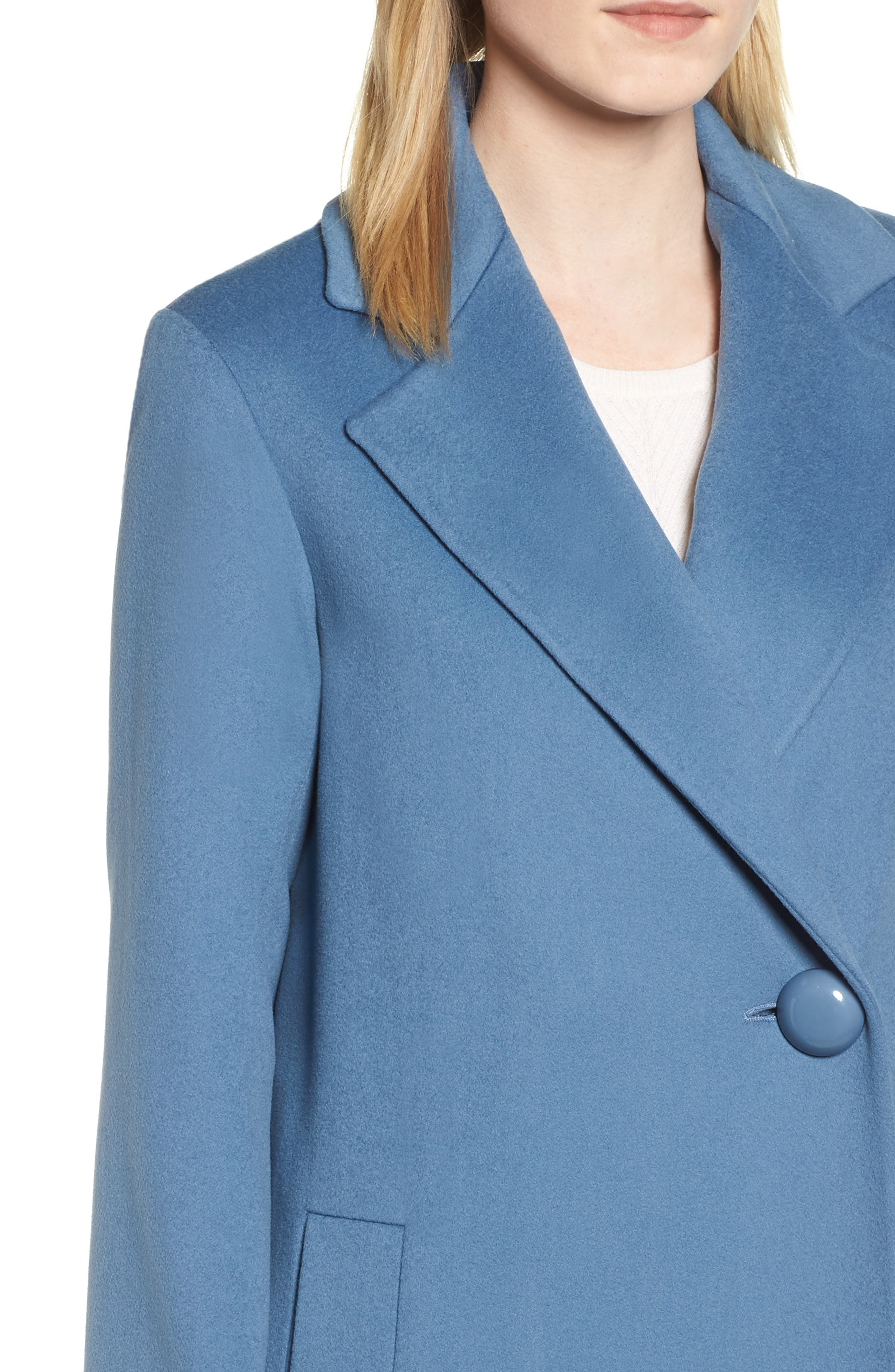 FLEURETTE, One-Button Loro Piana Wool Coat, Alternate thumbnail 5, color, CORNFLOWER