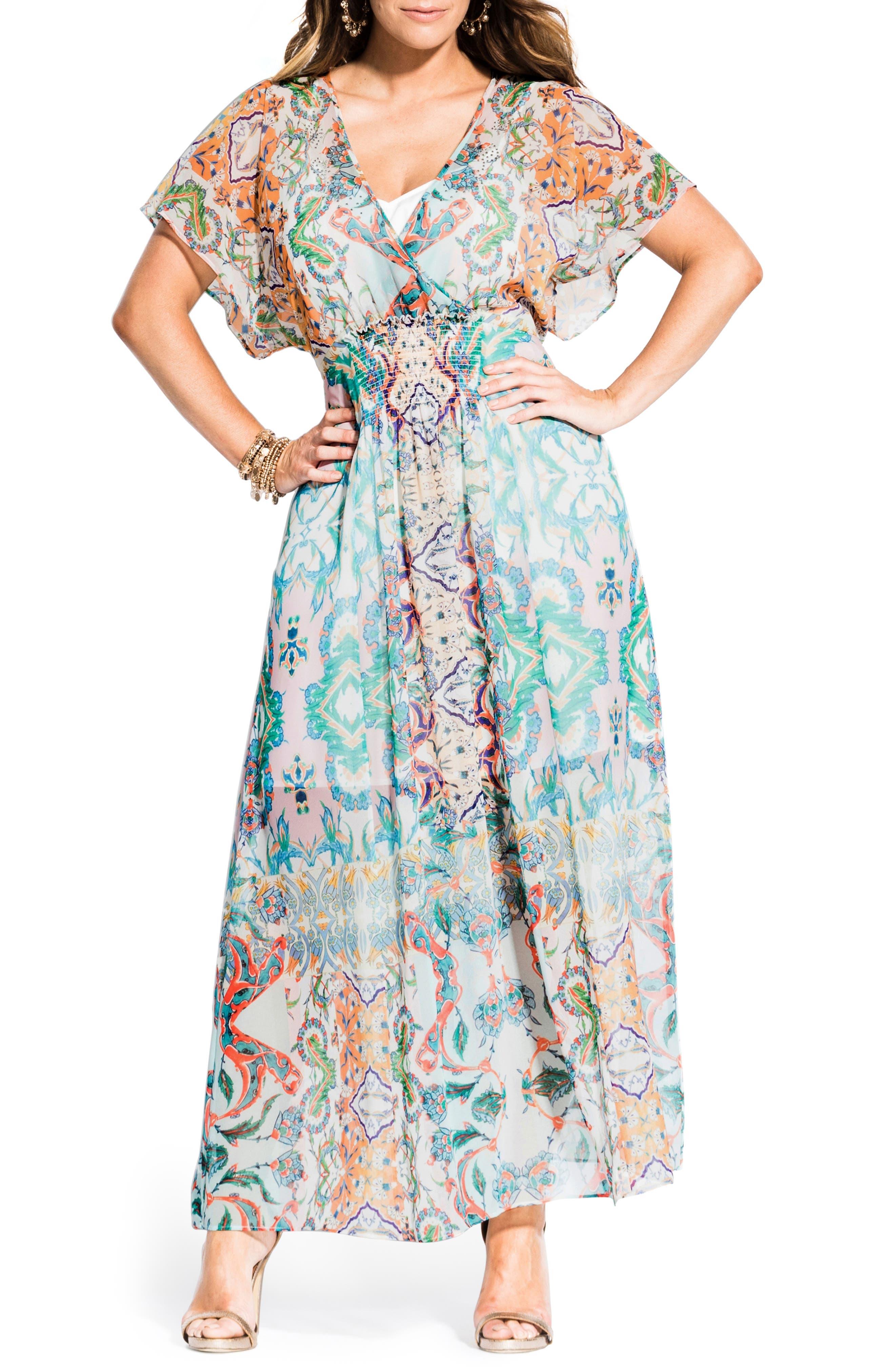 Plus Size City Chic Casablanca Maxi Dress, White