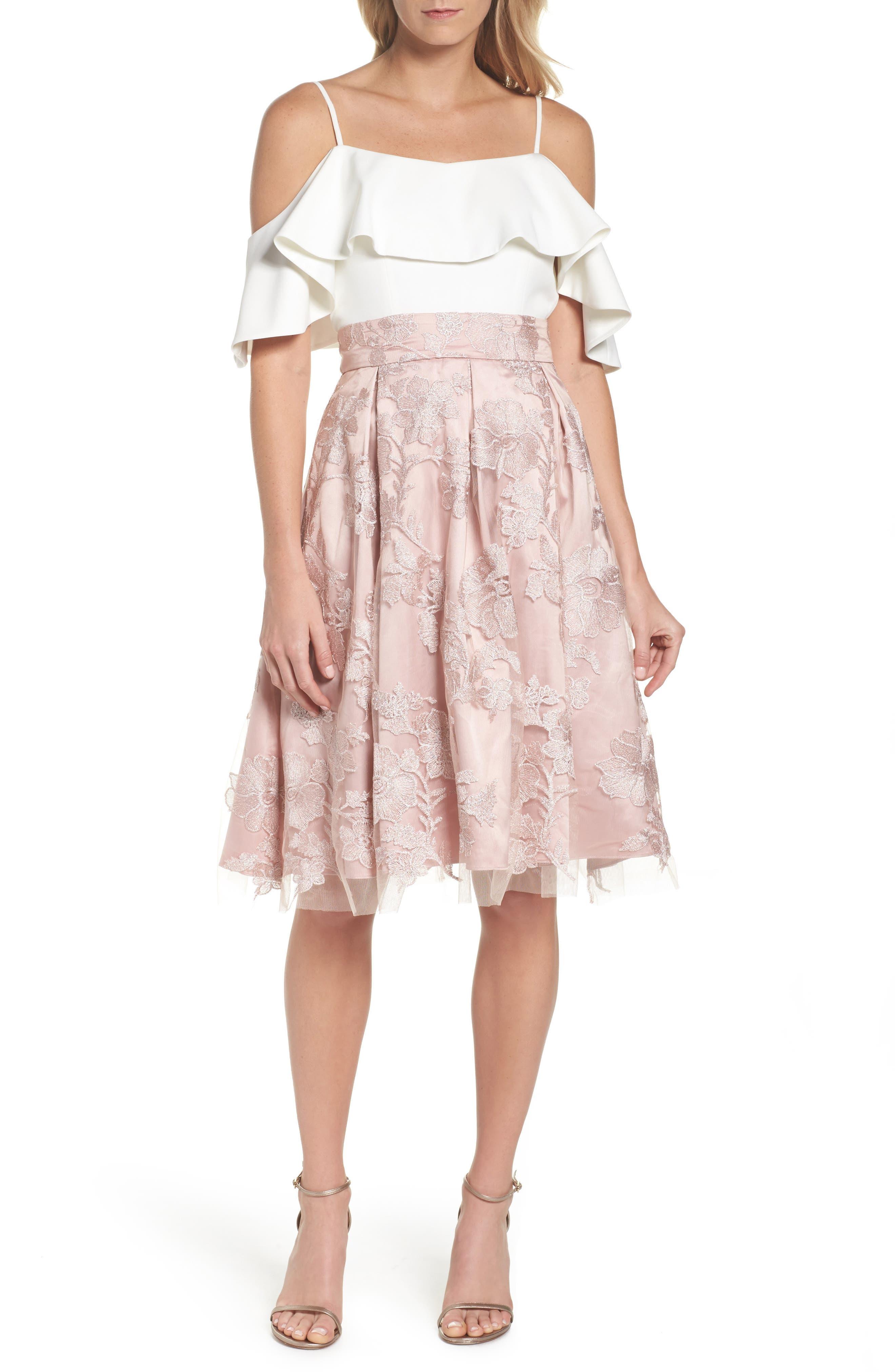 ELIZA J, Floral Embroidered Skirt, Alternate thumbnail 7, color, 254