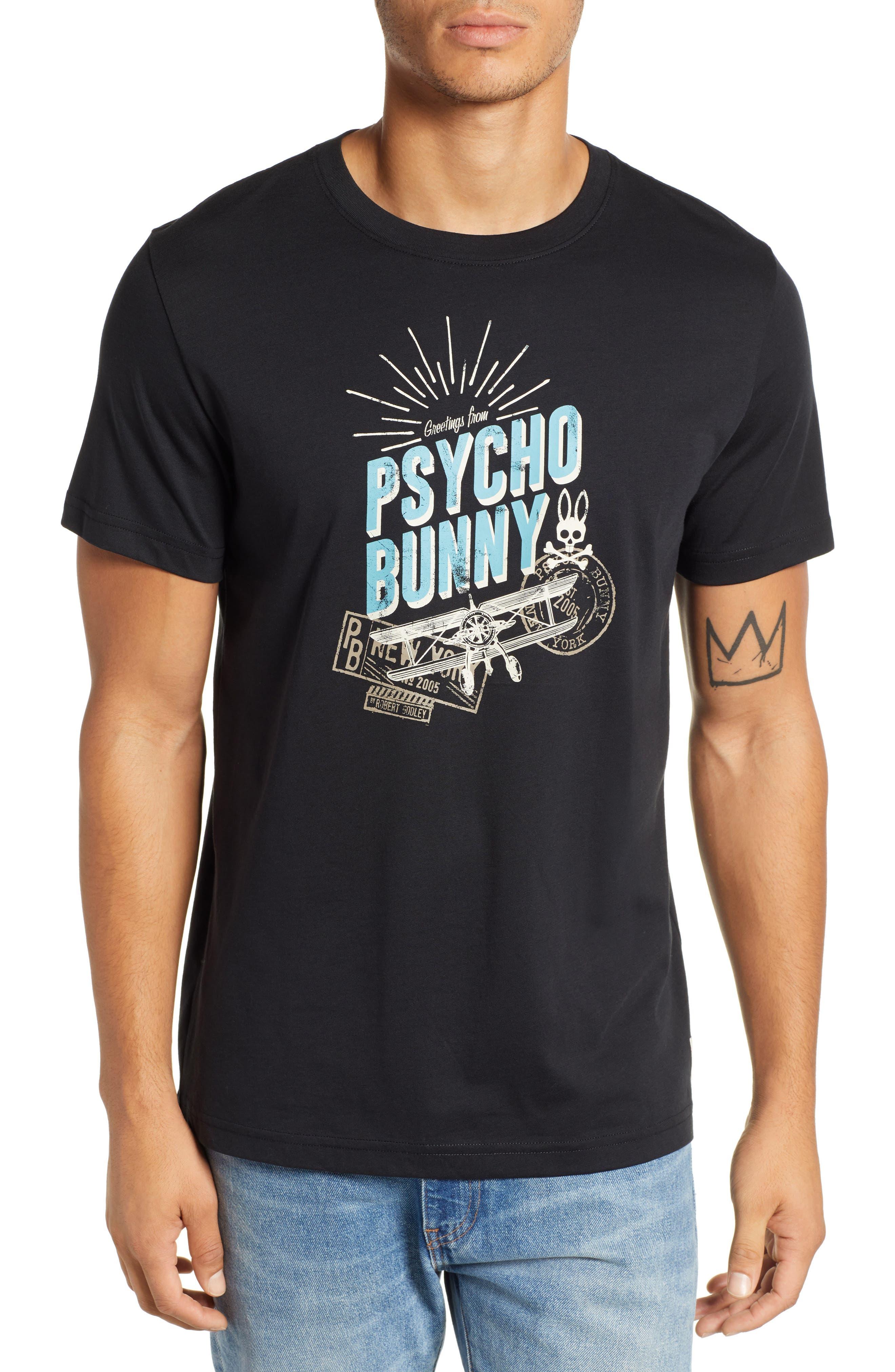 PSYCHO BUNNY, Otley Graphic T-Shirt, Main thumbnail 1, color, 001