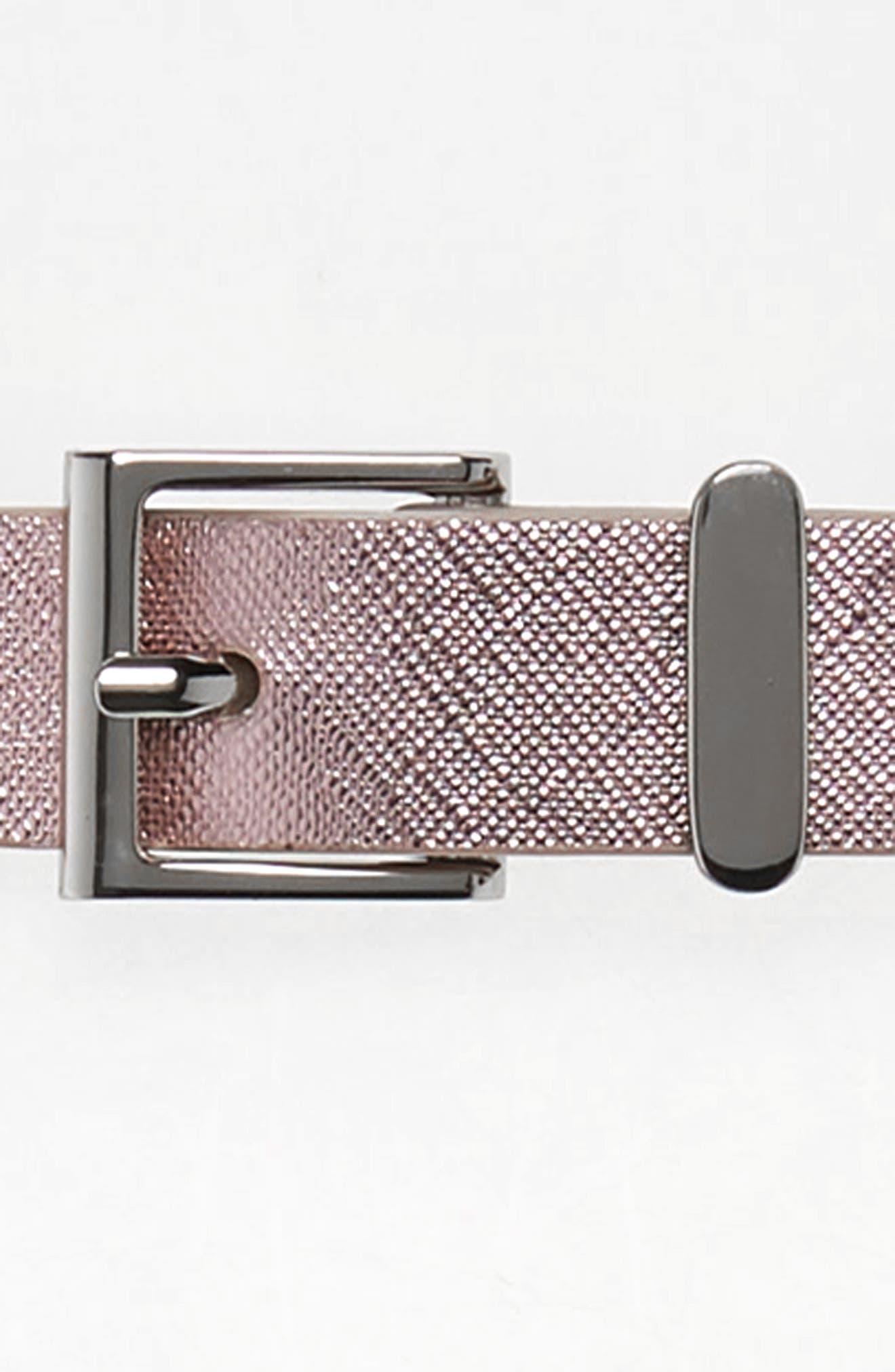 HALOGEN<SUP>®</SUP>, Metallic Textured Faux Leather Belt, Alternate thumbnail 3, color, PINK