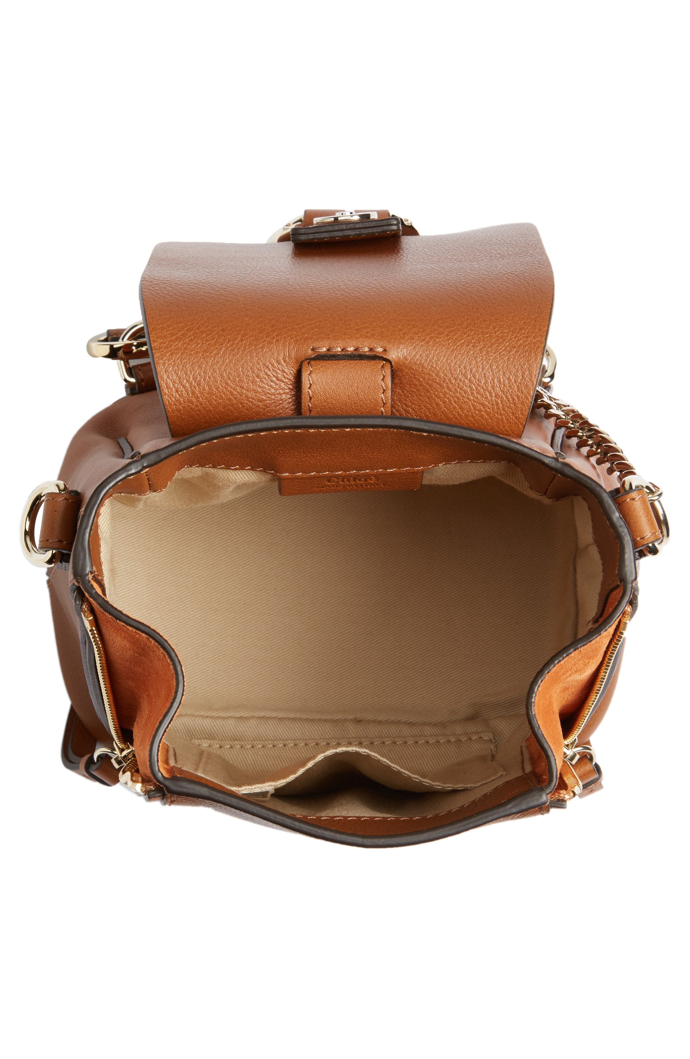 CHLOÉ, Mini Faye Leather & Suede Backpack, Alternate thumbnail 4, color, TAN