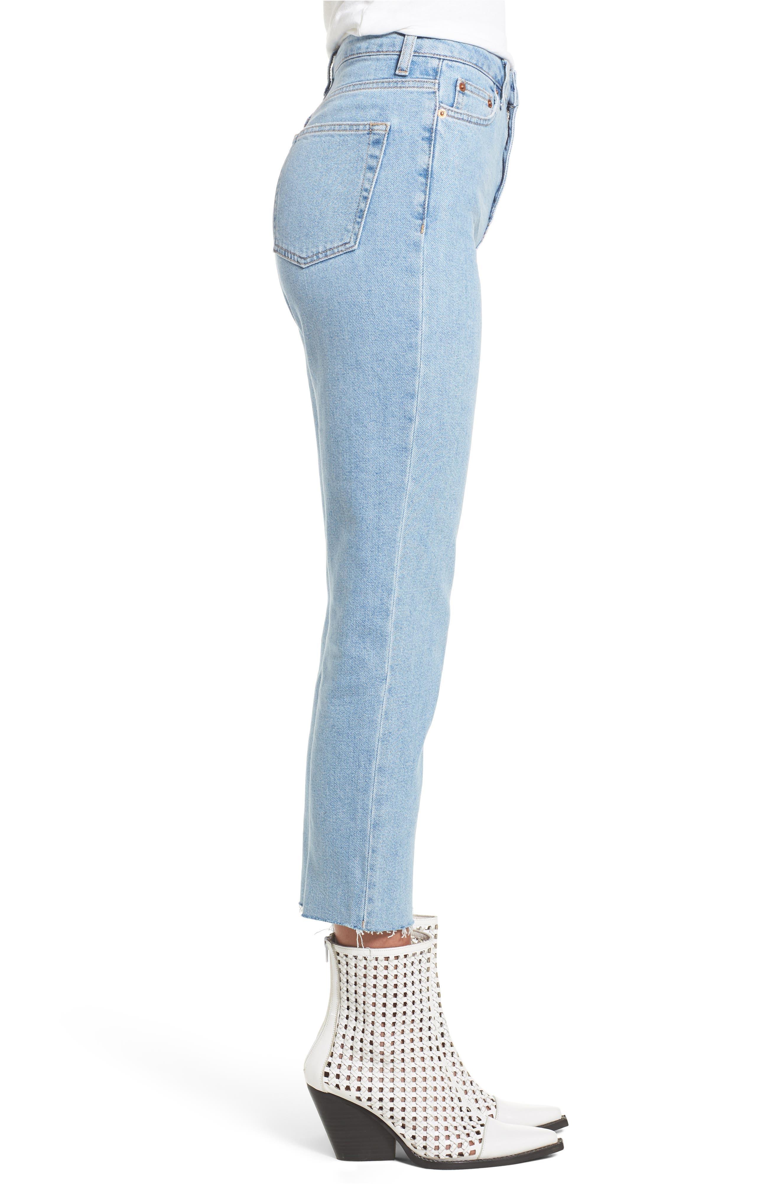 TOPSHOP, Raw Hem Straight Leg Jeans, Alternate thumbnail 4, color, BLEACH STONE DENIM