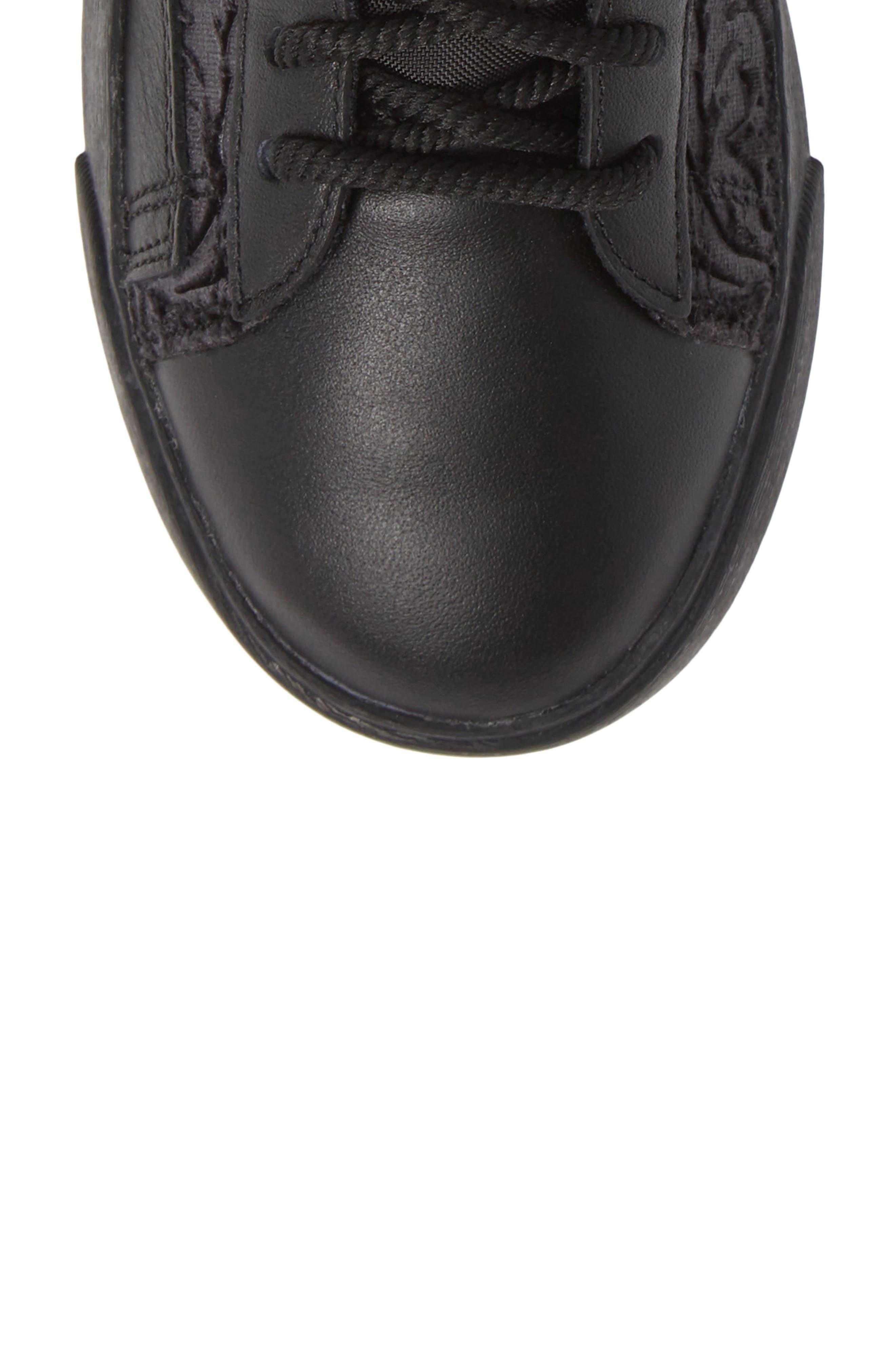 NIKE, Blazer Mid Top Sneaker, Alternate thumbnail 5, color, BLACK/ GOLD/ SUMMIT WHITE