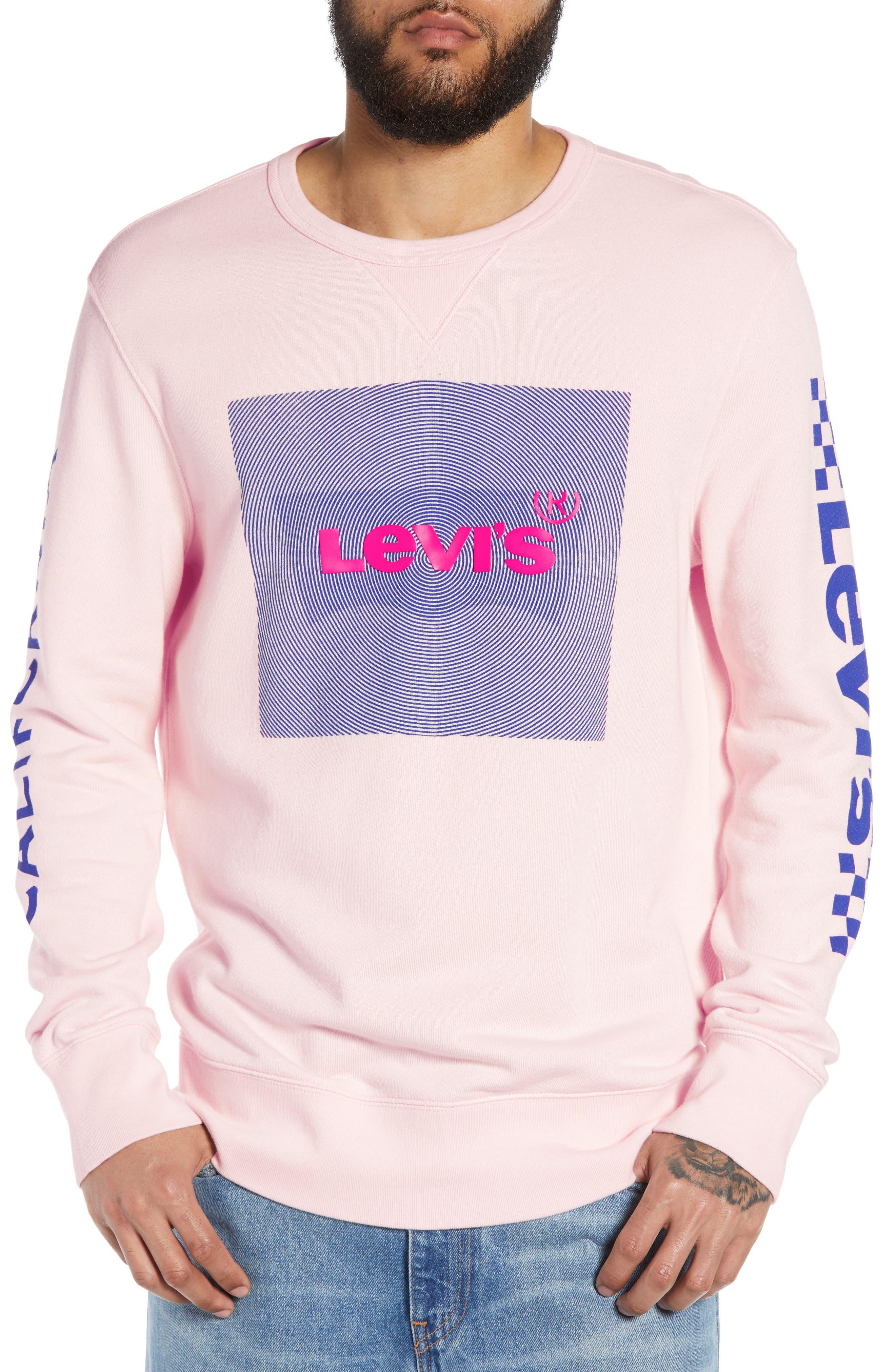 LEVI'S<SUP>®</SUP>, Logo Graphic Longline Crewneck Sweatshirt, Main thumbnail 1, color, BALLERINA