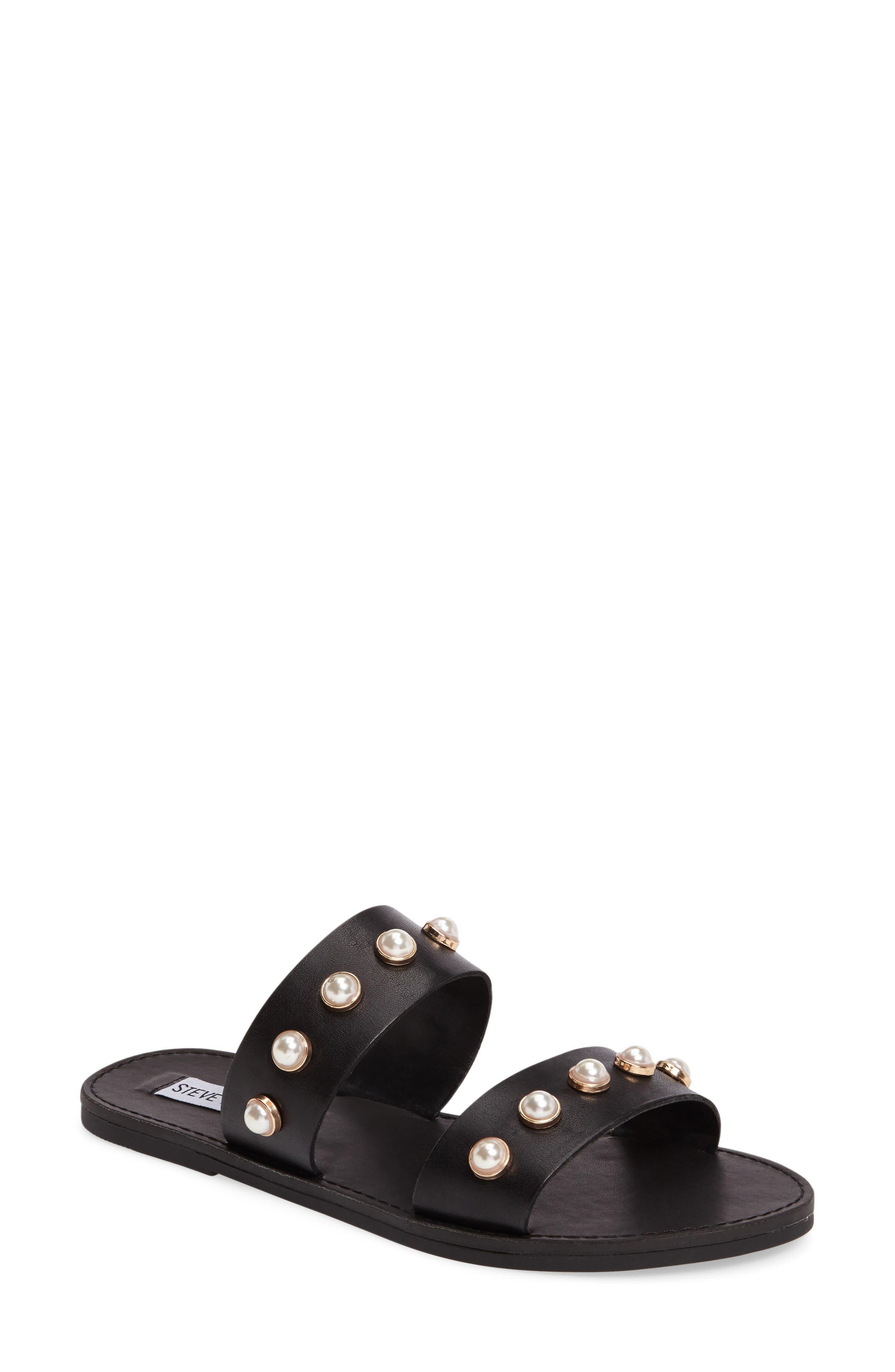 STEVE MADDEN, Jole Embellished Slide Sandal, Main thumbnail 1, color, 001