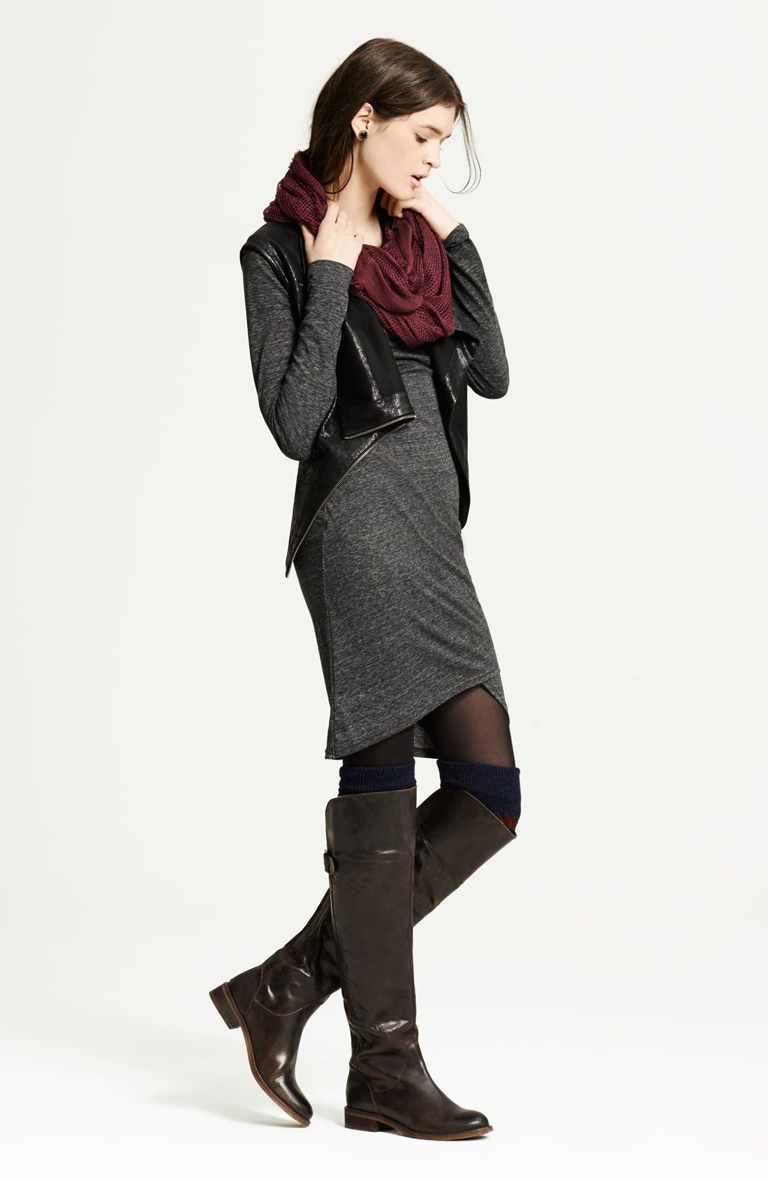 LEITH, Ruched Long Sleeve Dress, Alternate thumbnail 12, color, 001