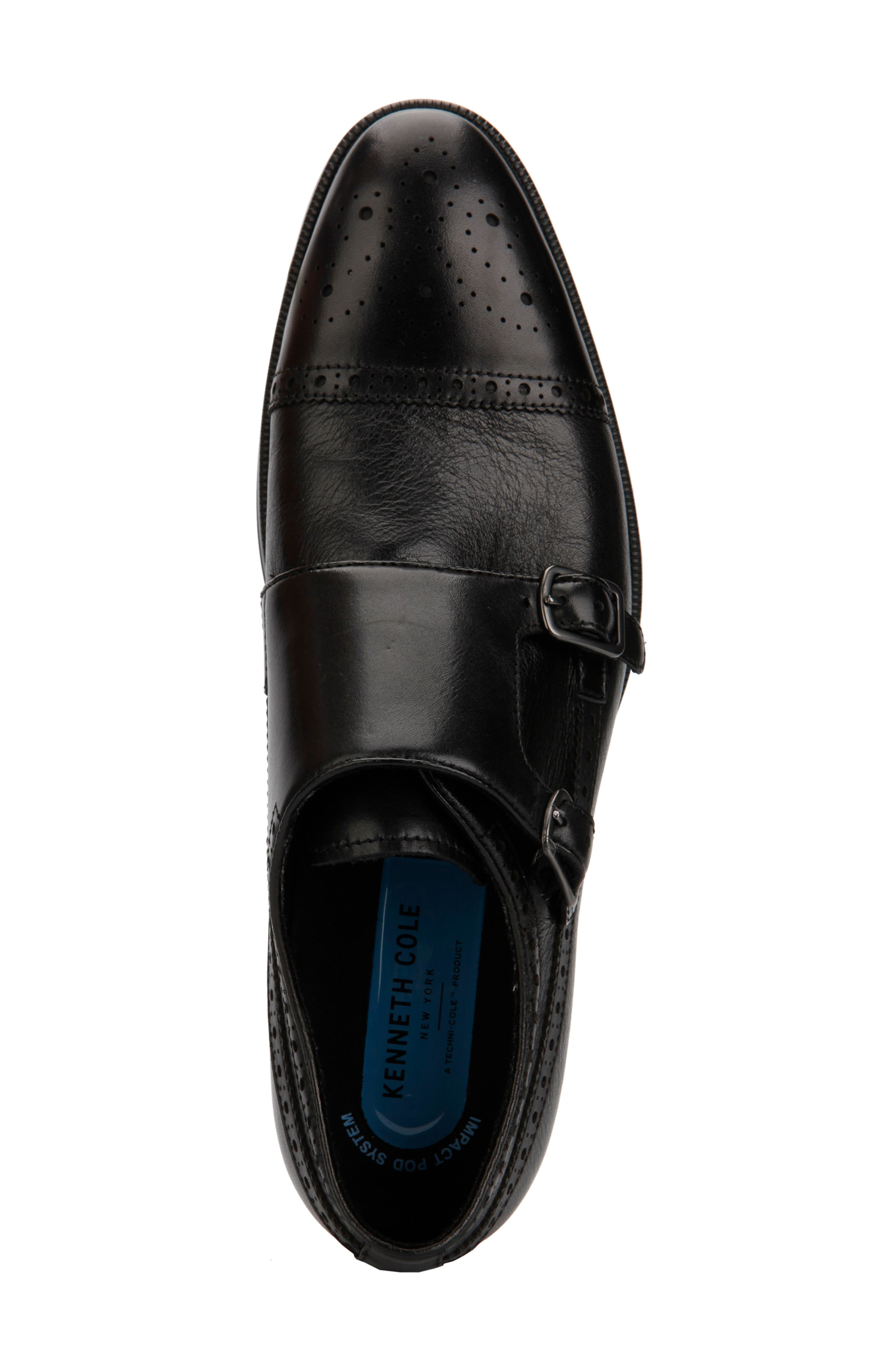 KENNETH COLE NEW YORK, Futurepod Double Monk Strap Shoe, Alternate thumbnail 3, color, BLACK TUMBLED LEATHER